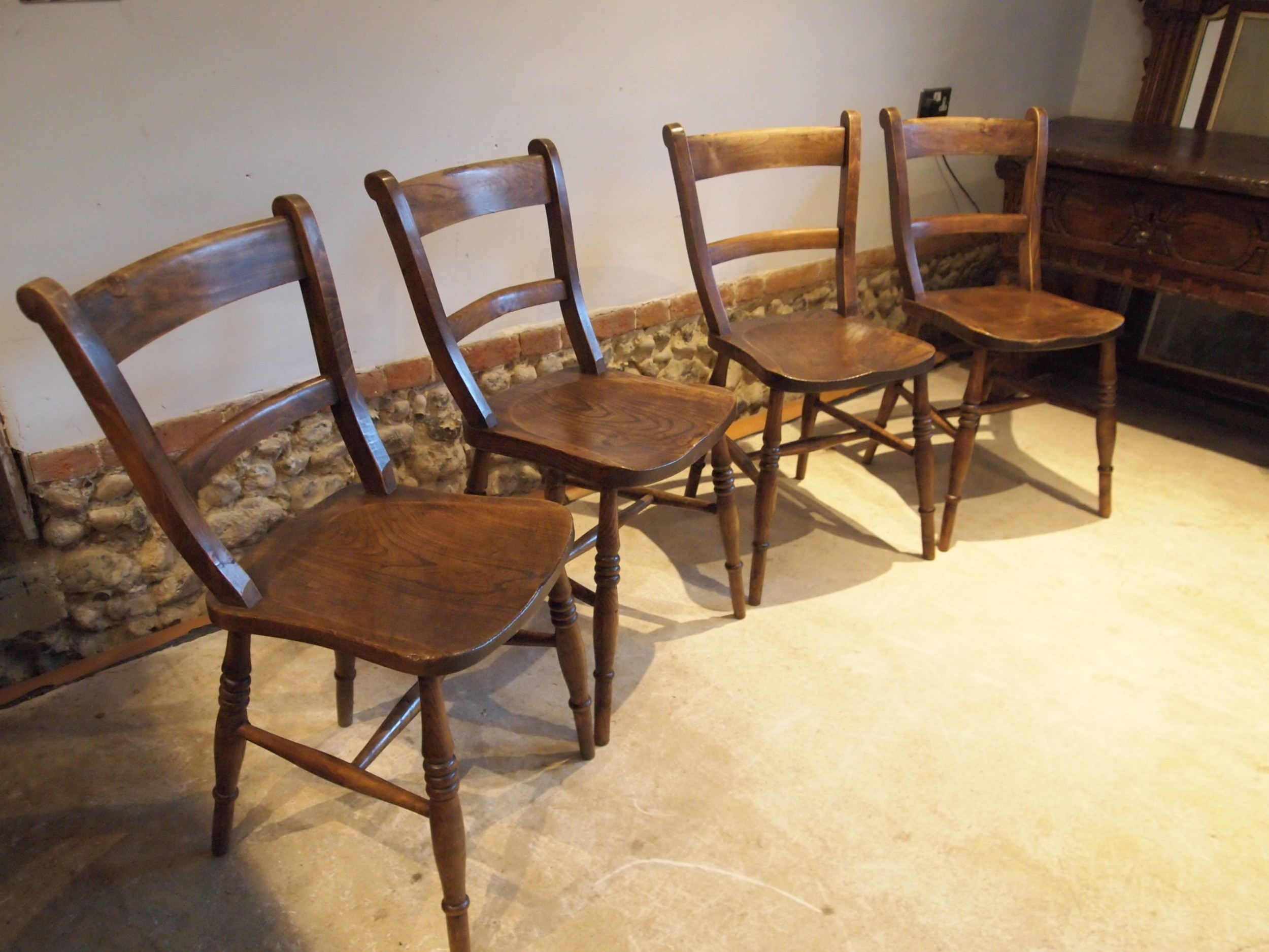 chairs set of 4 victorian east anglian bar back windsor kitchen c1890