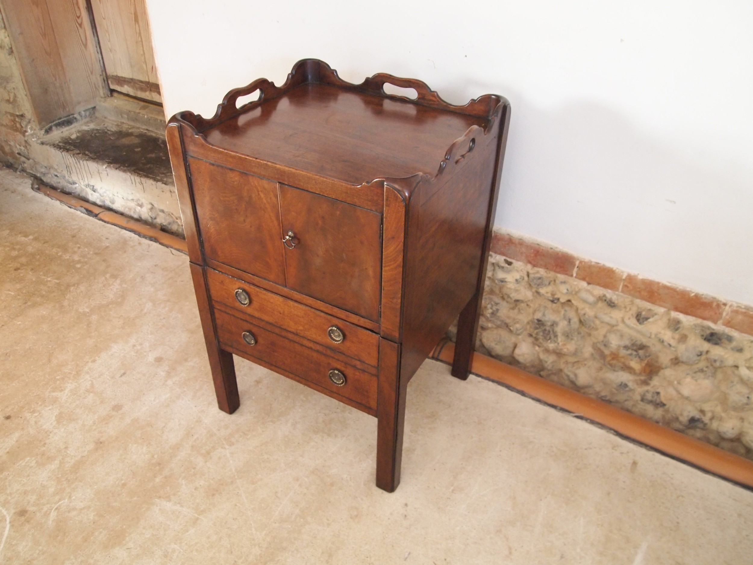 bedside chest george iii mahogany tray top c1780