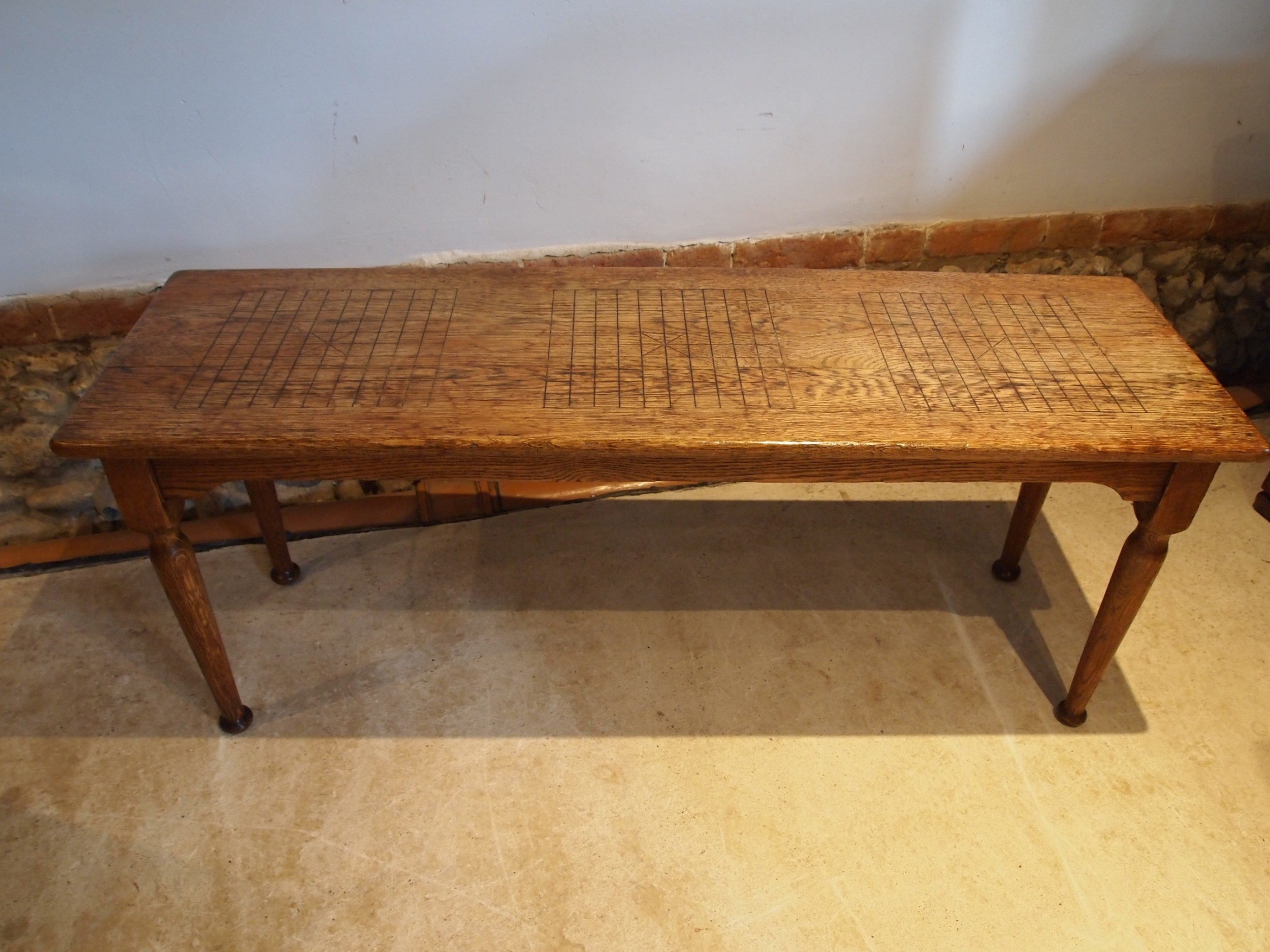 bench settle window seat arts and crafts oak c1900