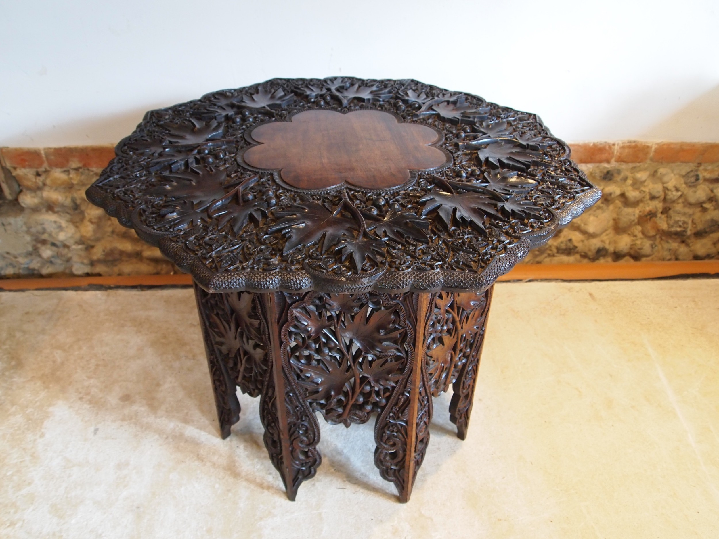 table fine 19th century carved burmese lamp hall side c1880