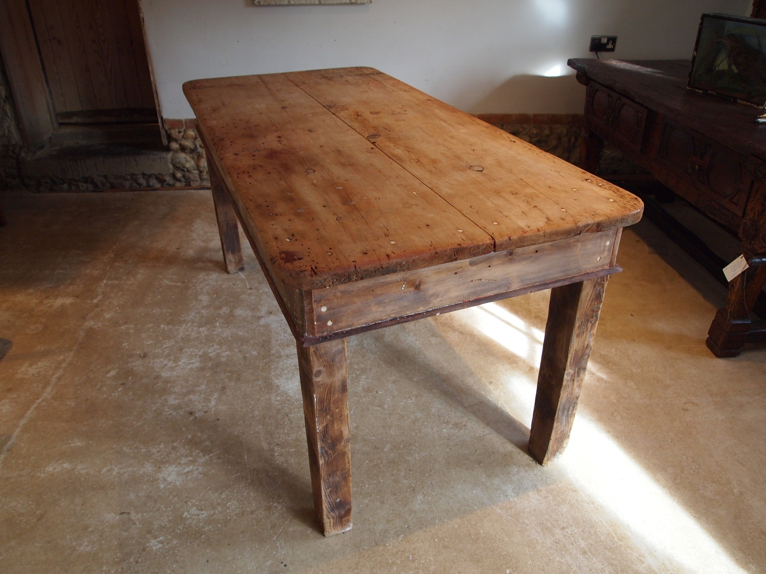 table edwardian refectory farmhouse deal rustic seats 68 c1900