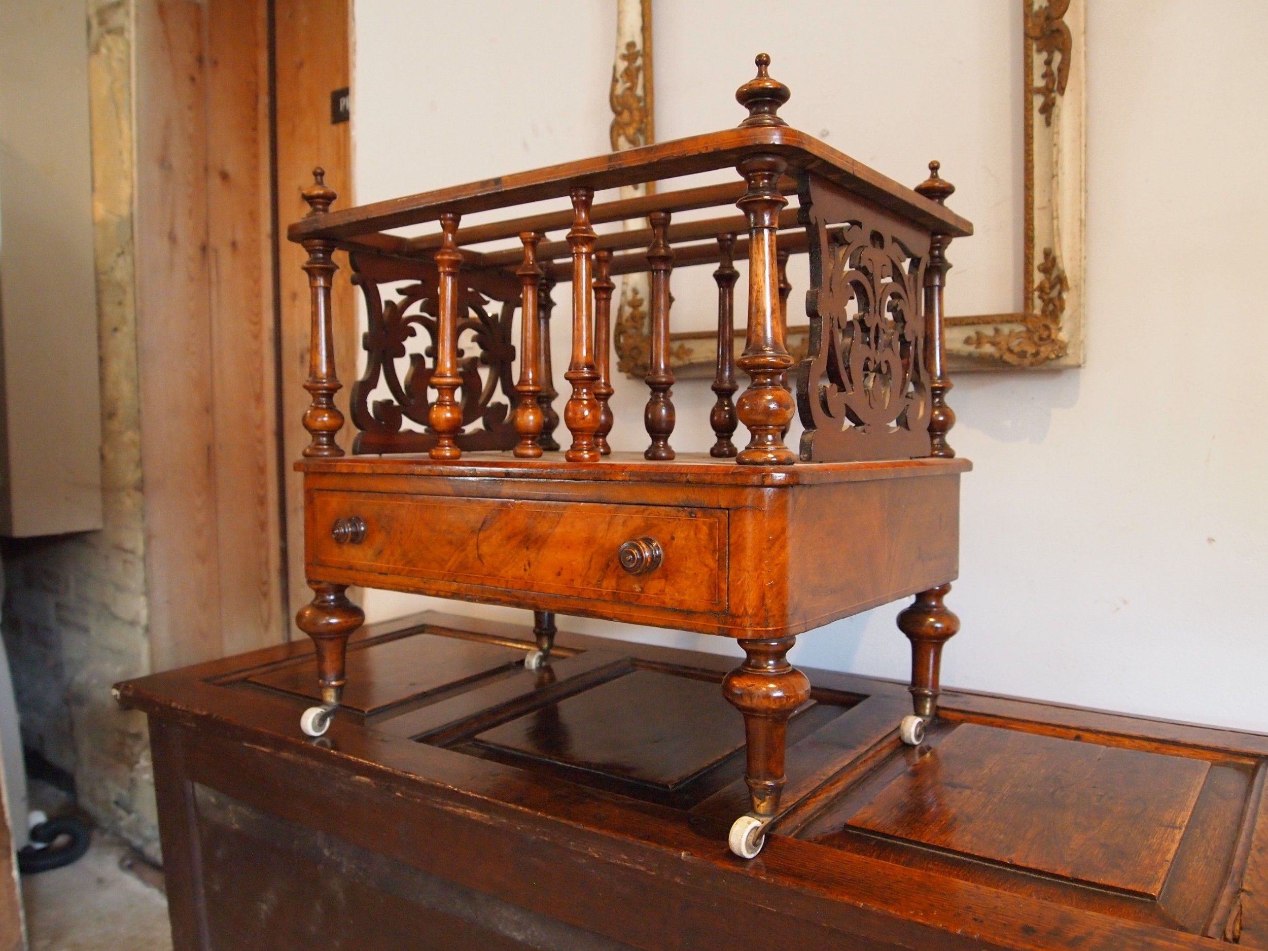 canterbury magazine rack early victorian burr and figured walnut c1840