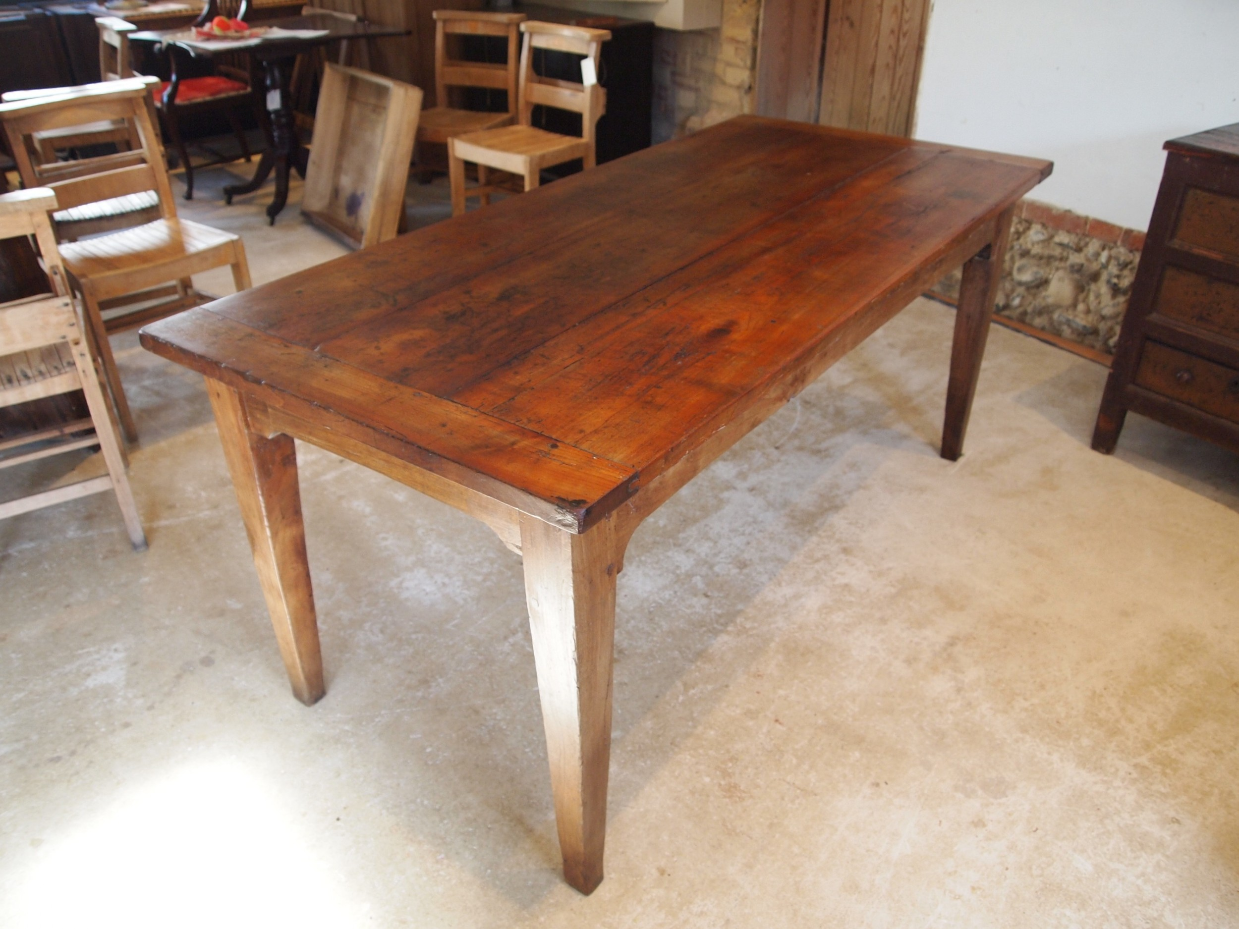 table french cherry wood refectory farmhouse dining c1850