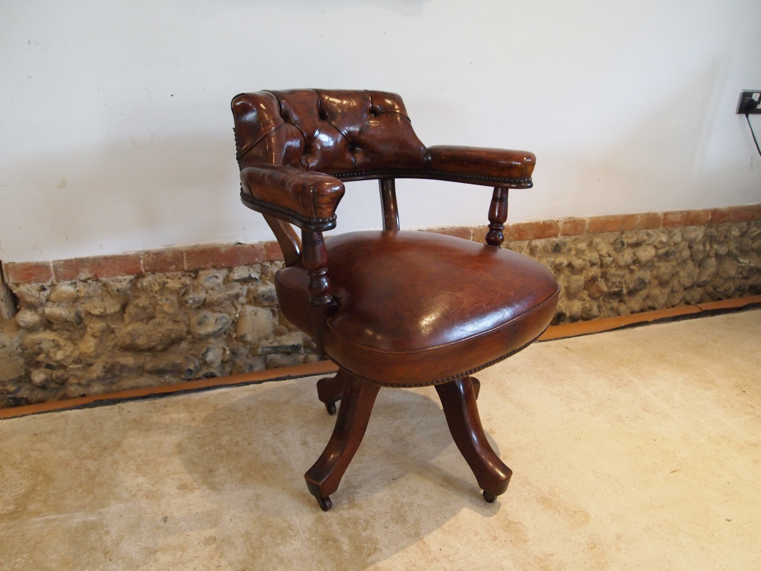 chair outstanding victorian mahogany and leather desk chair c1880