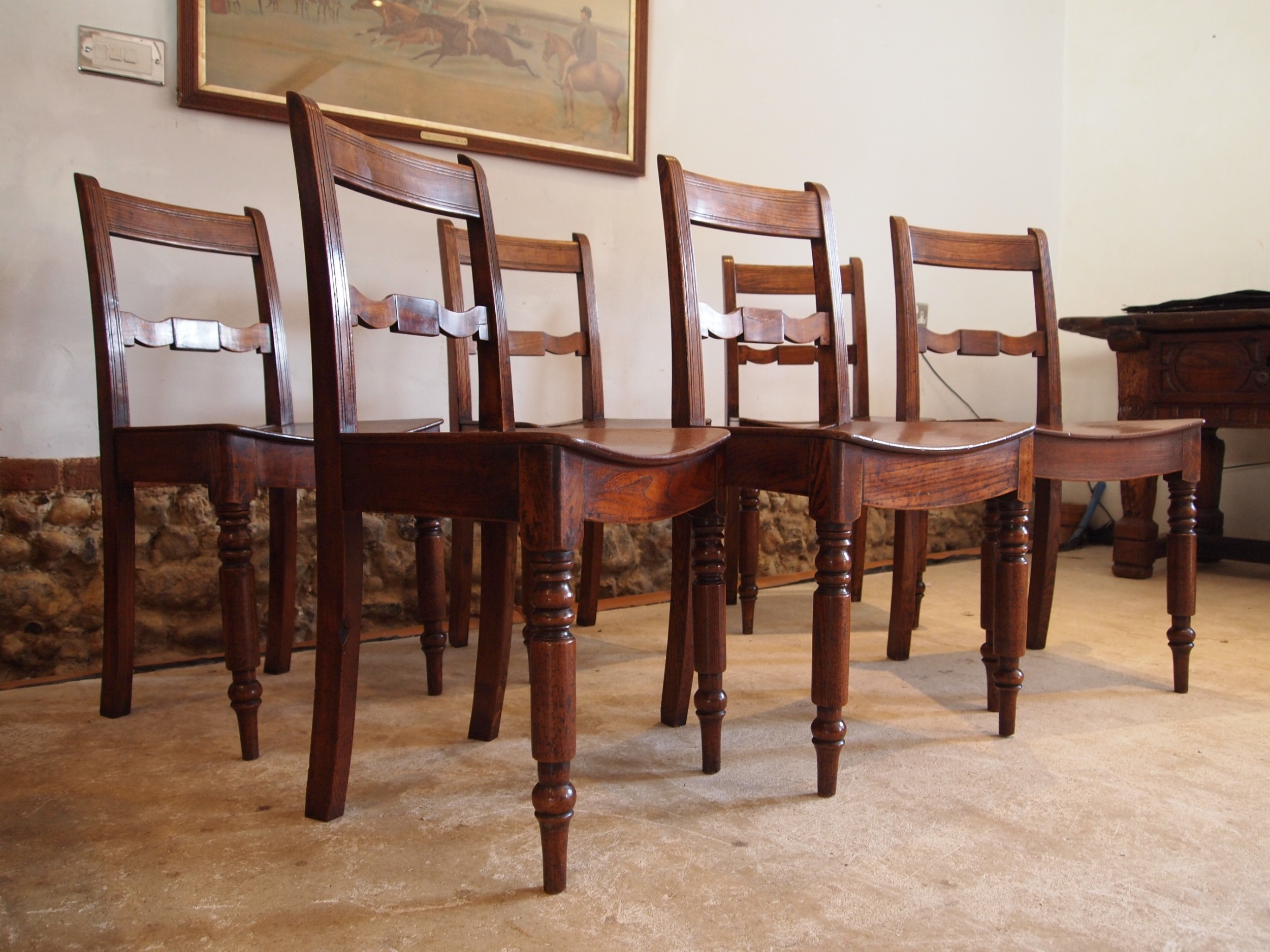 chairs rare set of six east anglian bar back solid elm dining chairs c1820