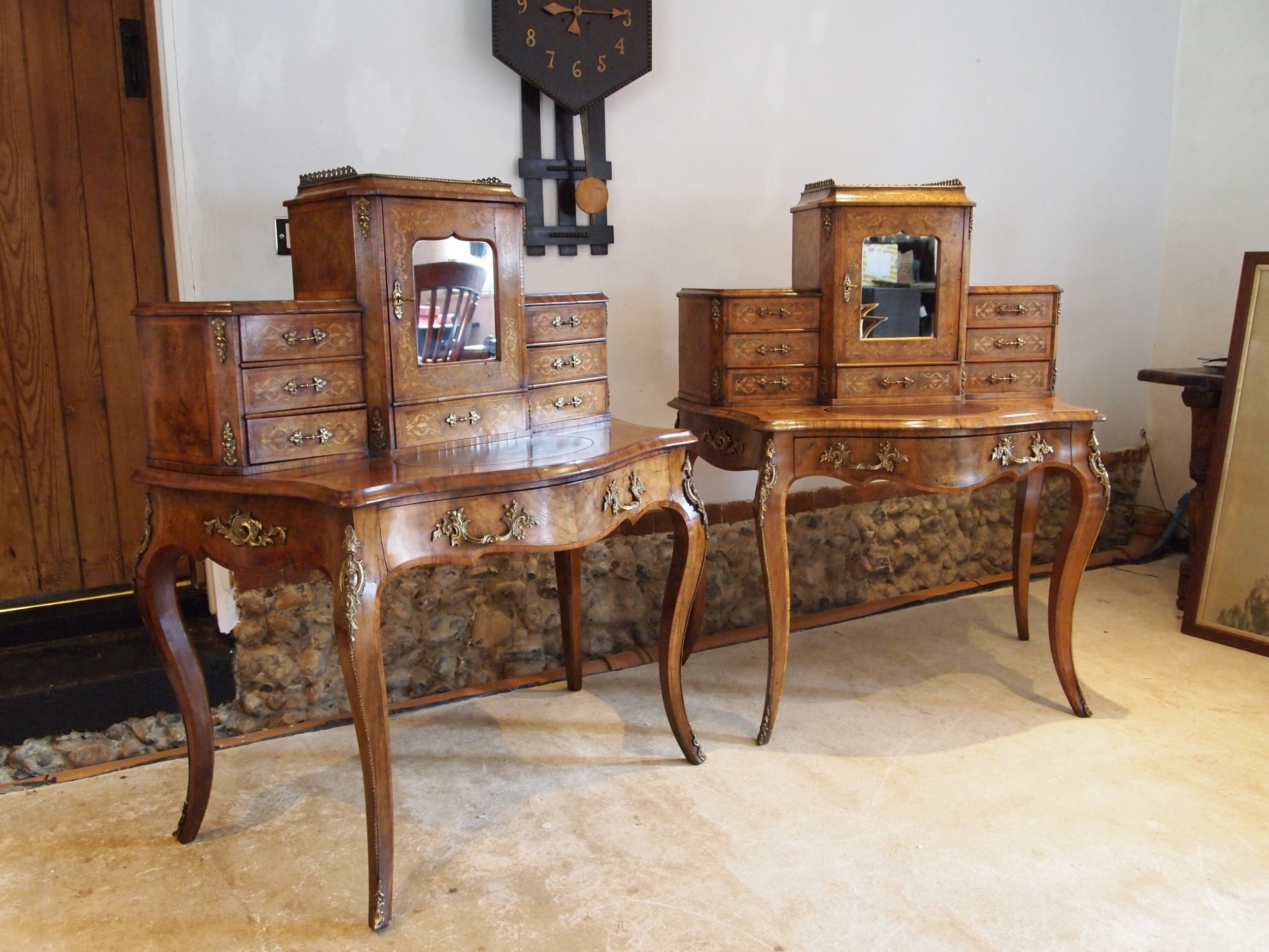 desk rare pair of bonheur du jour's exhibition quality burr walnut c1860