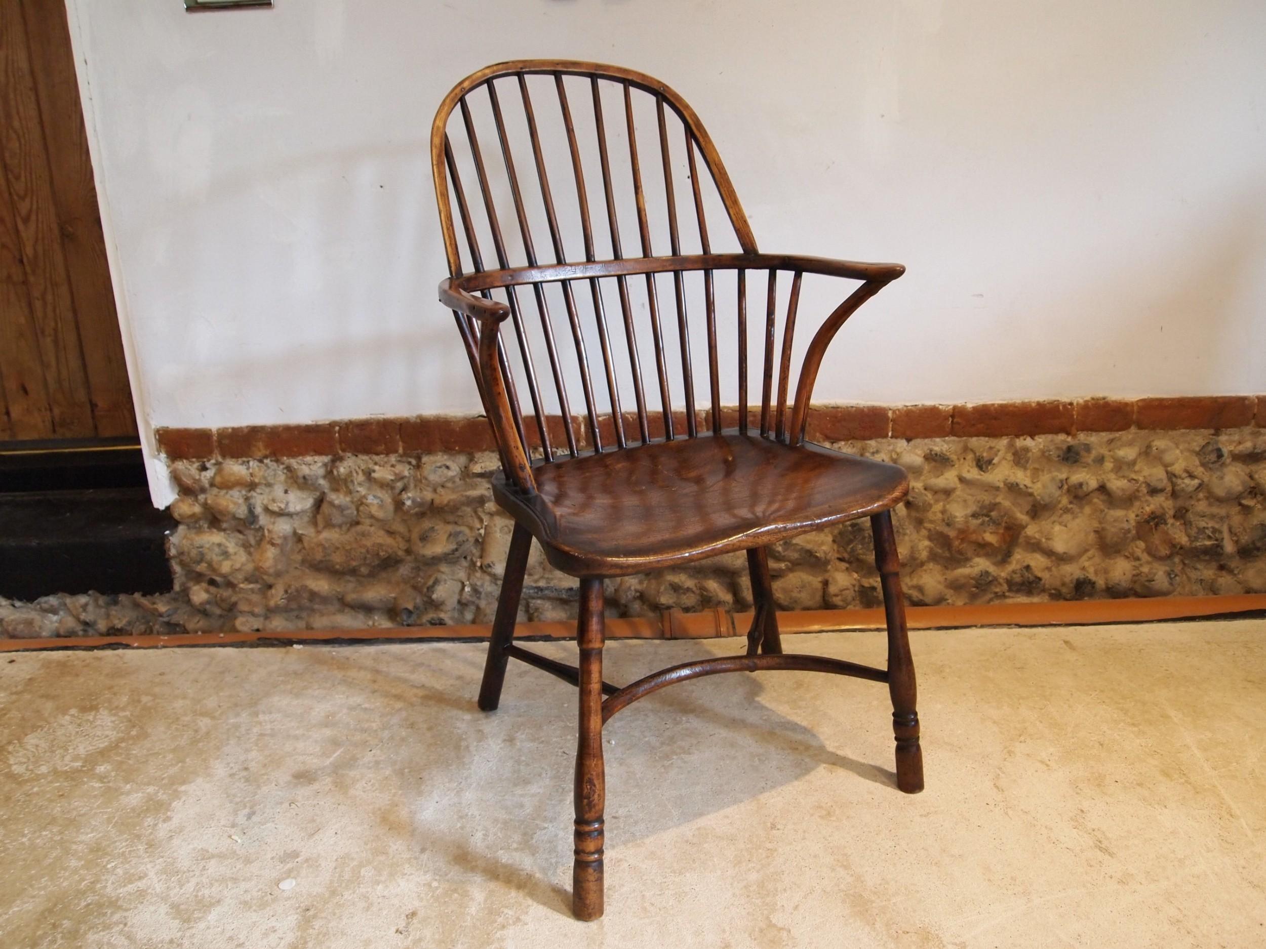 chair fine yew and elm george iii windsor armchair c1800