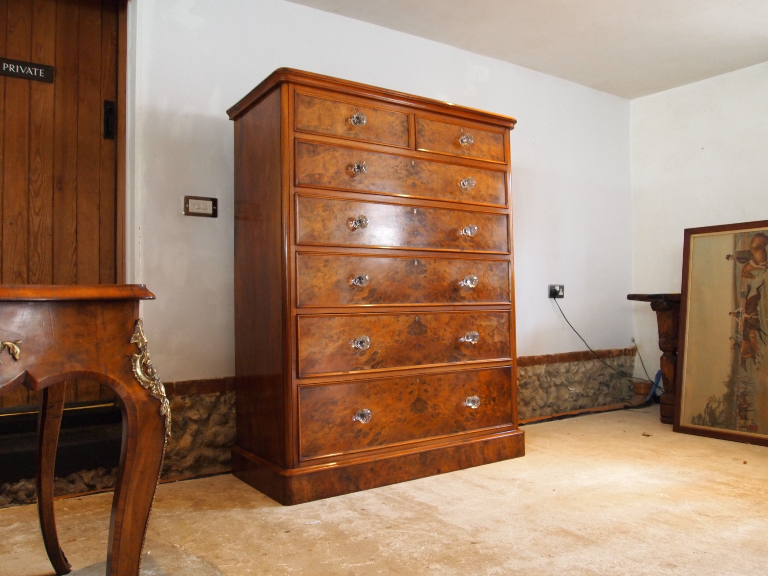 chest of drawers stunning burr walnut victorian c1870