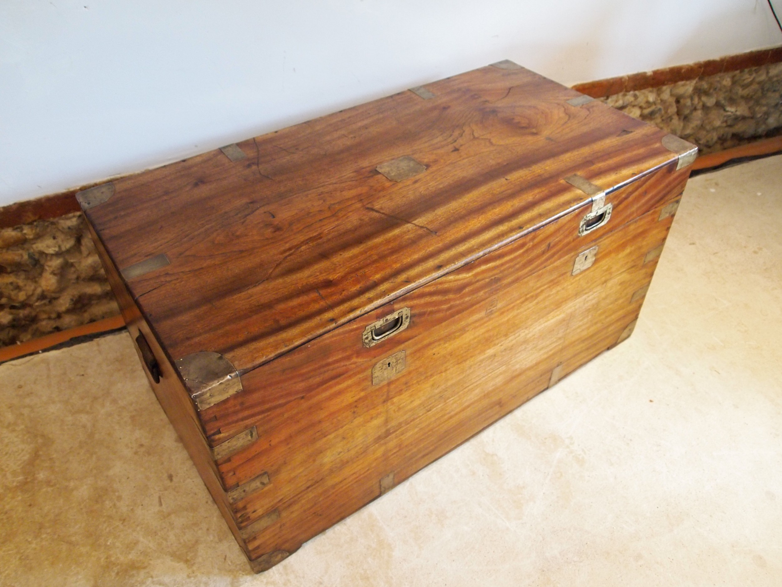 chest coffer trunk military campaign camphor wood c1840
