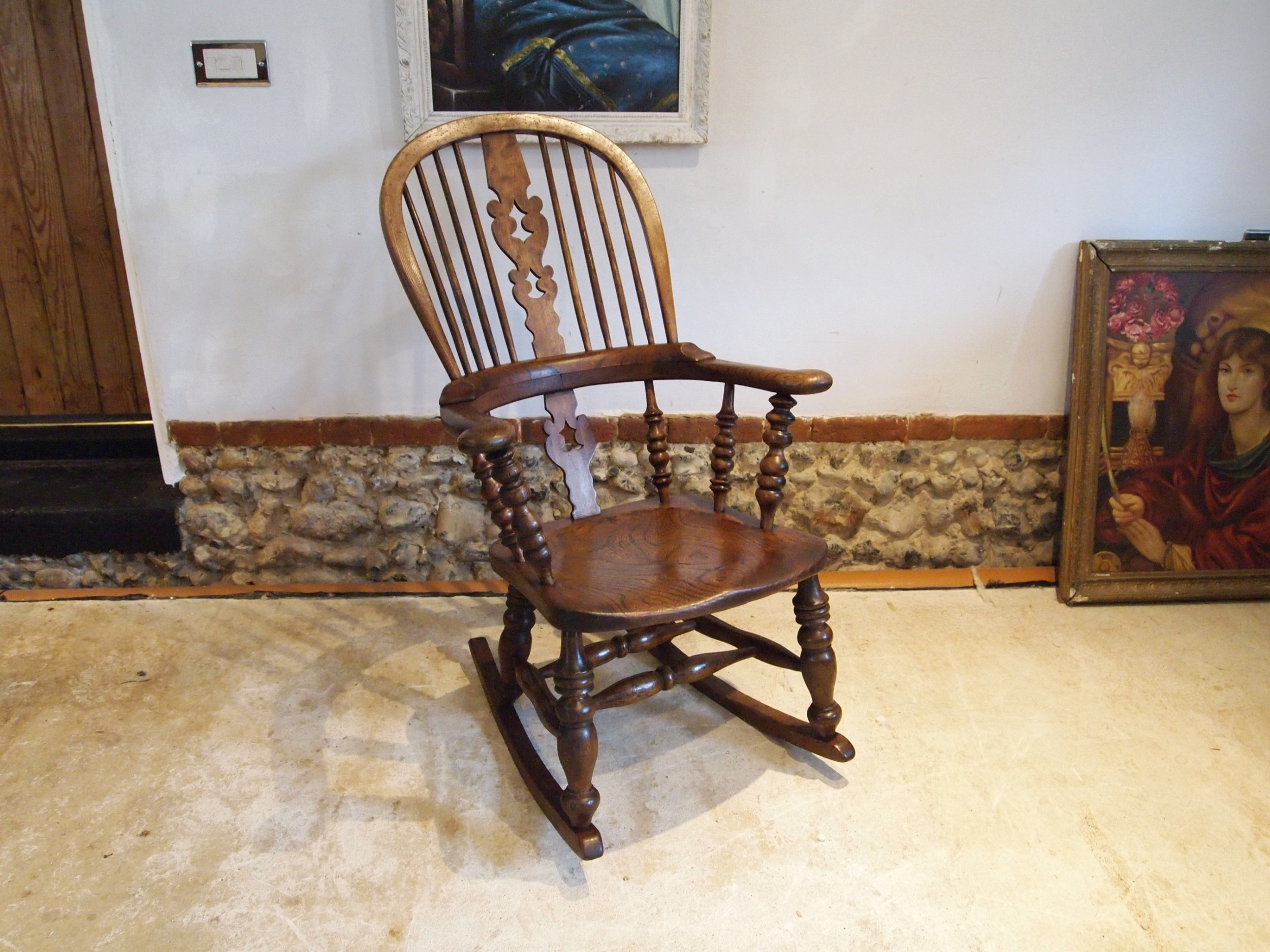 chair rocking chair victorian windsor ash and elm c1860