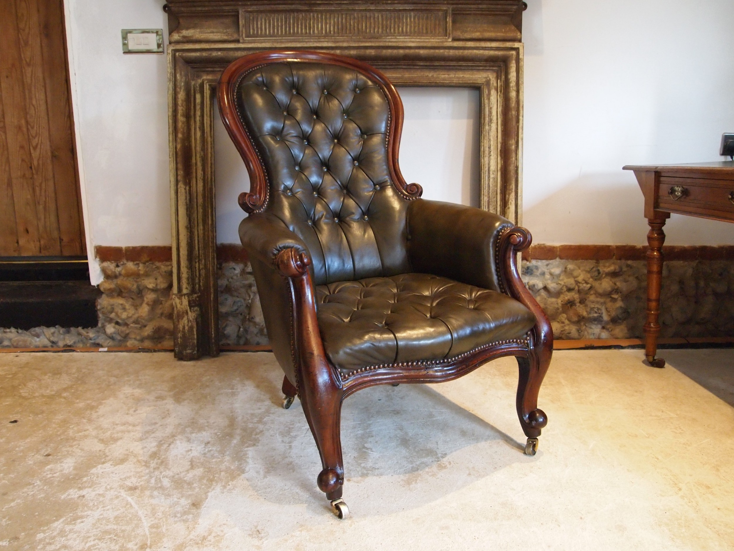 chair victorian leather mahogany buttoned armchair c1870