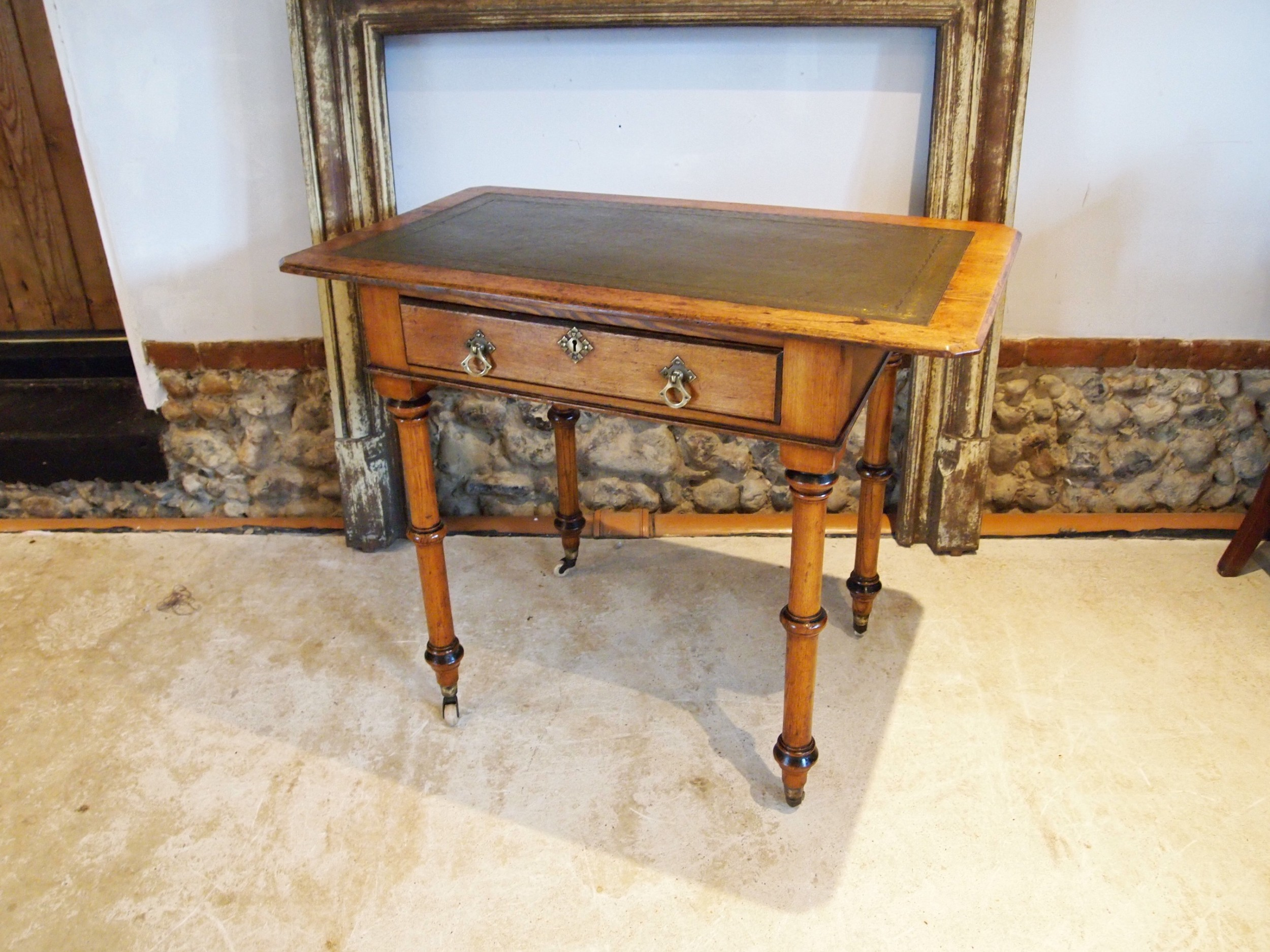 writing table victorian arts and crafts pugin influence gothic c1880