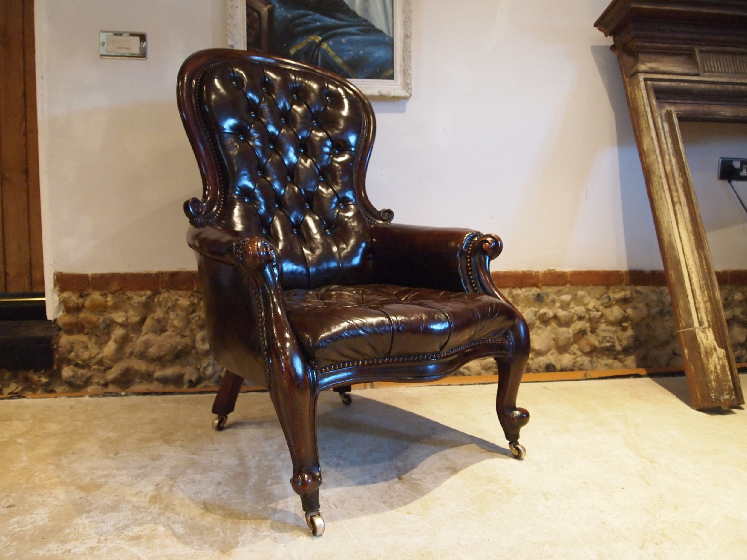 chair victorian chestnut leather mahogany buttoned armchair c1870