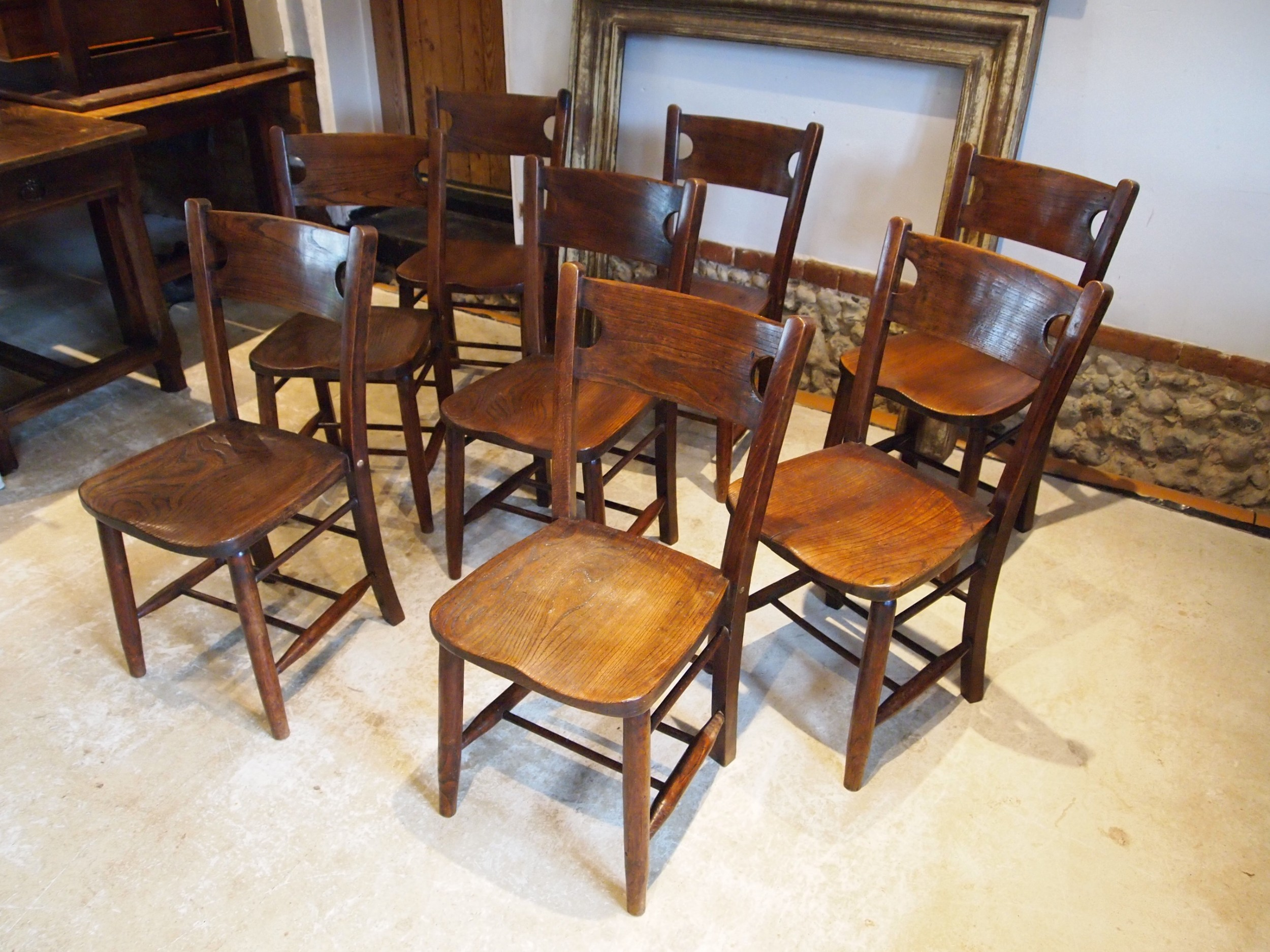 chairs a rare set of 8 elm windsor kitchen dining chairs c1890