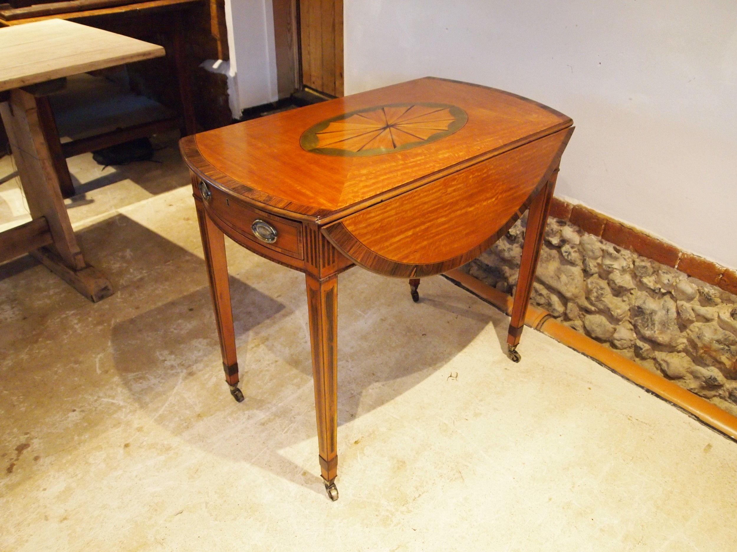 table outstanding fine quality edwardian satinwood pembroke table c1900