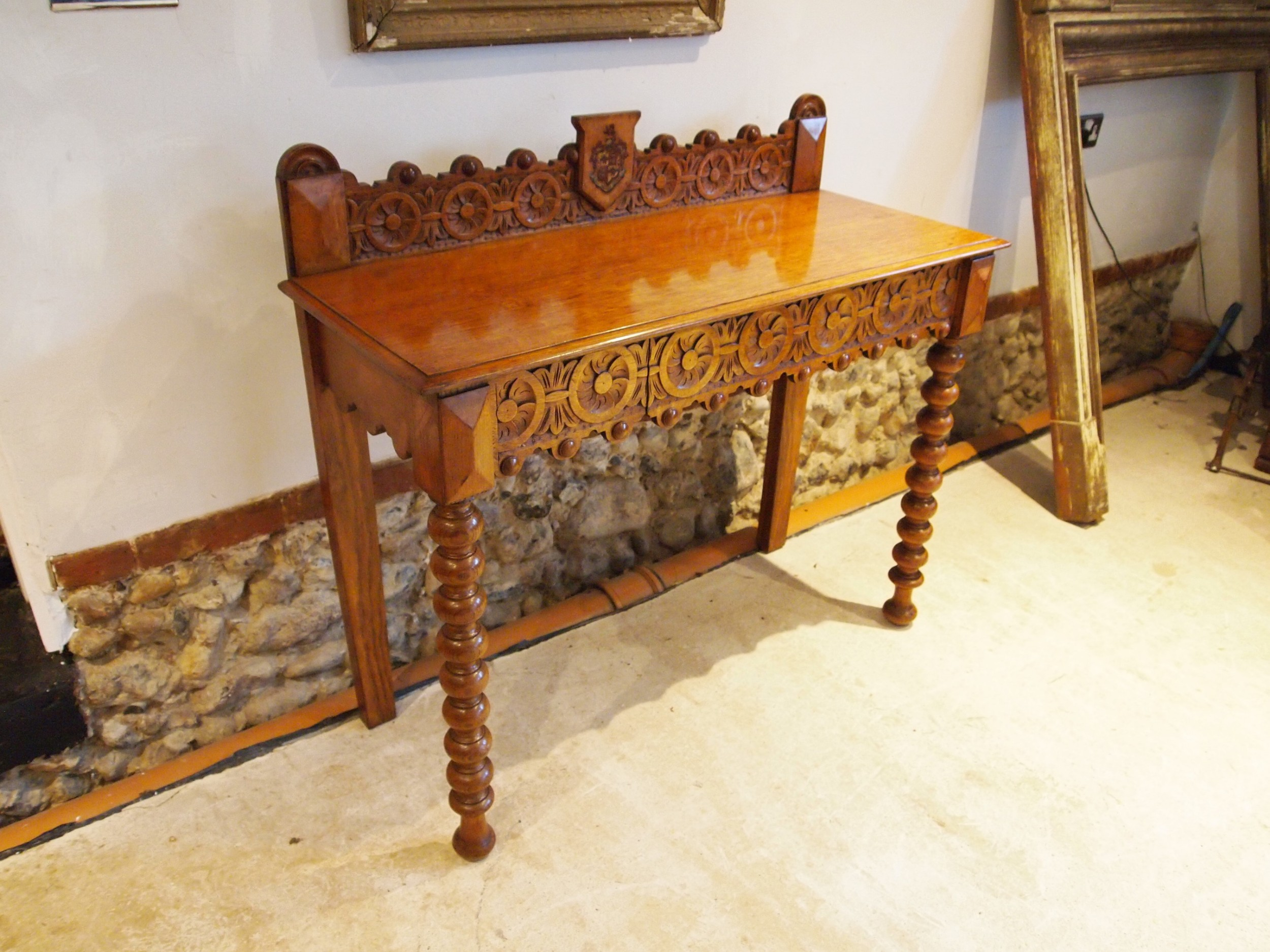 table outstanding irish oak side hall console heraldic o'brien c1880