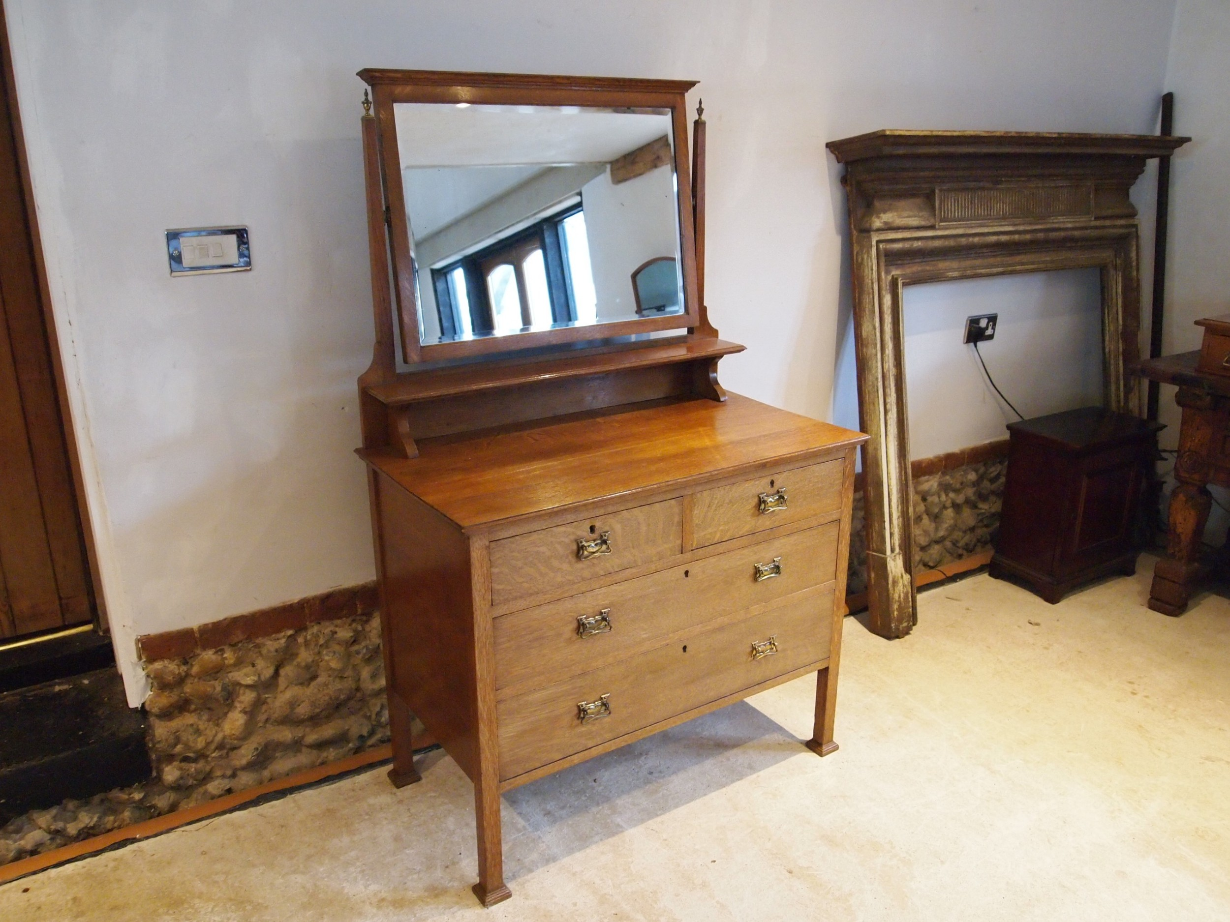 dressing table arts and crafts oak c1900