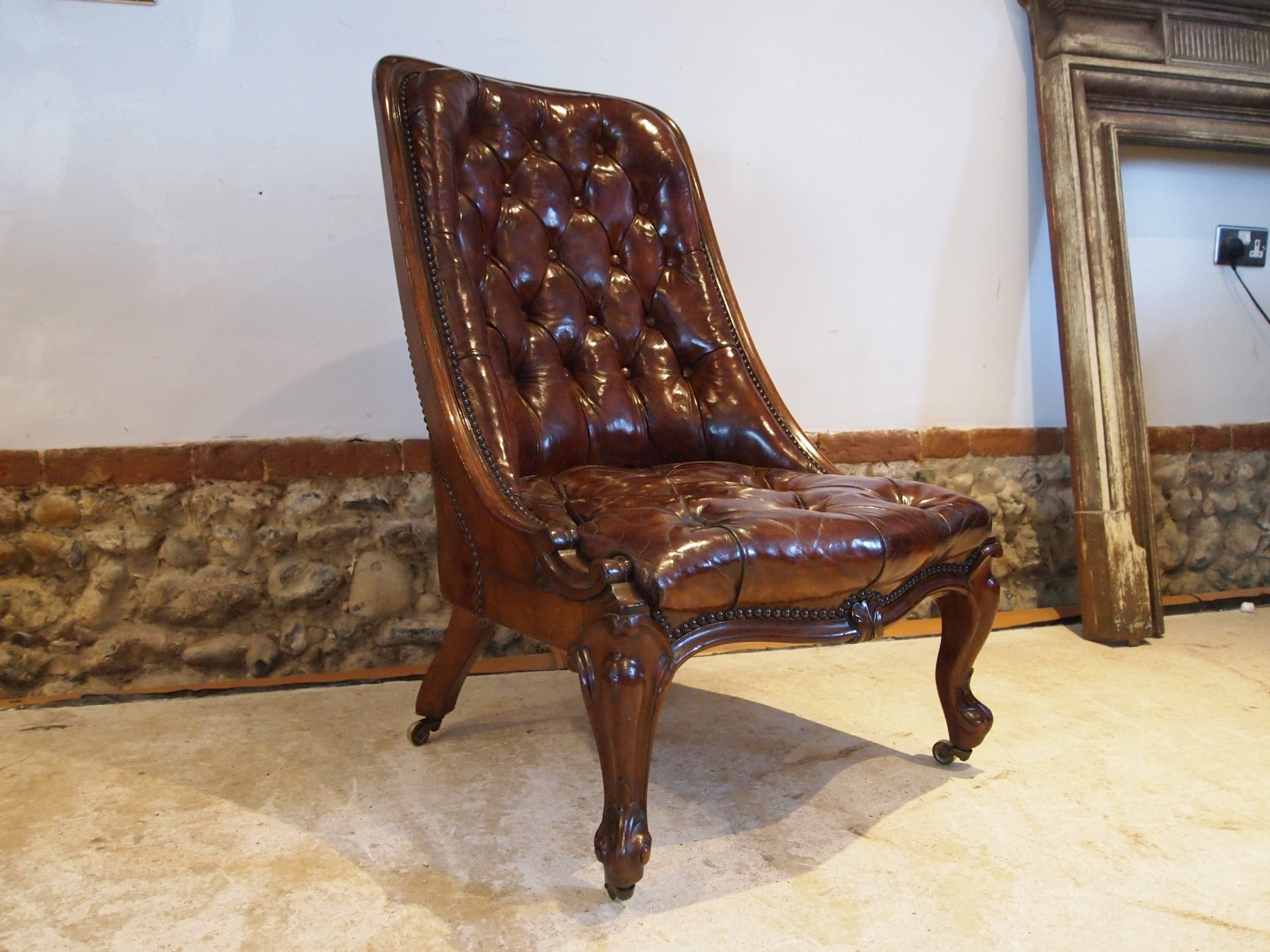 chair fine victorian walnut and chestnut leather c1870