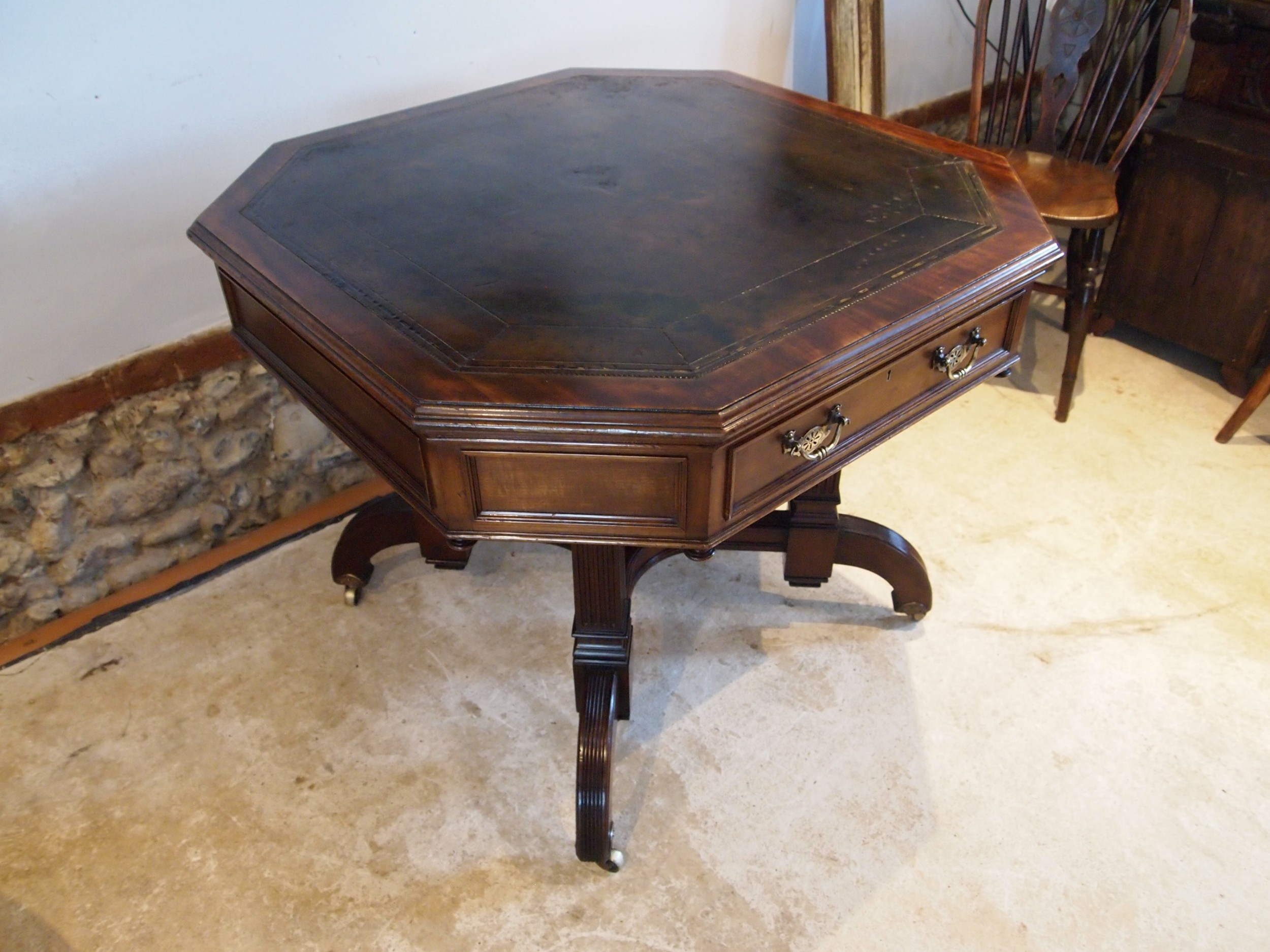 table v rare victorian walnut drum or library maple and co c1880