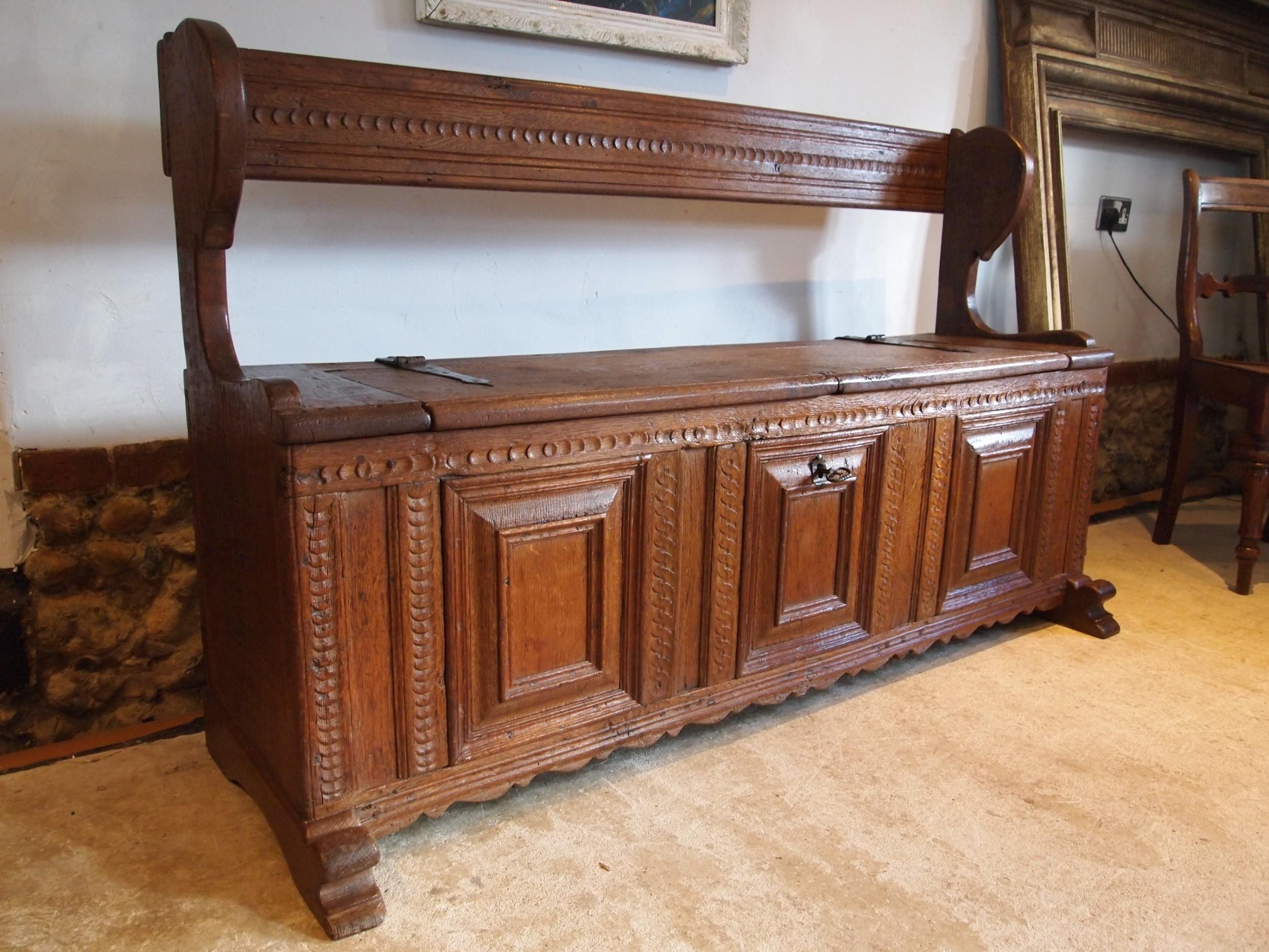 bench box settle outstanding french oak c1720