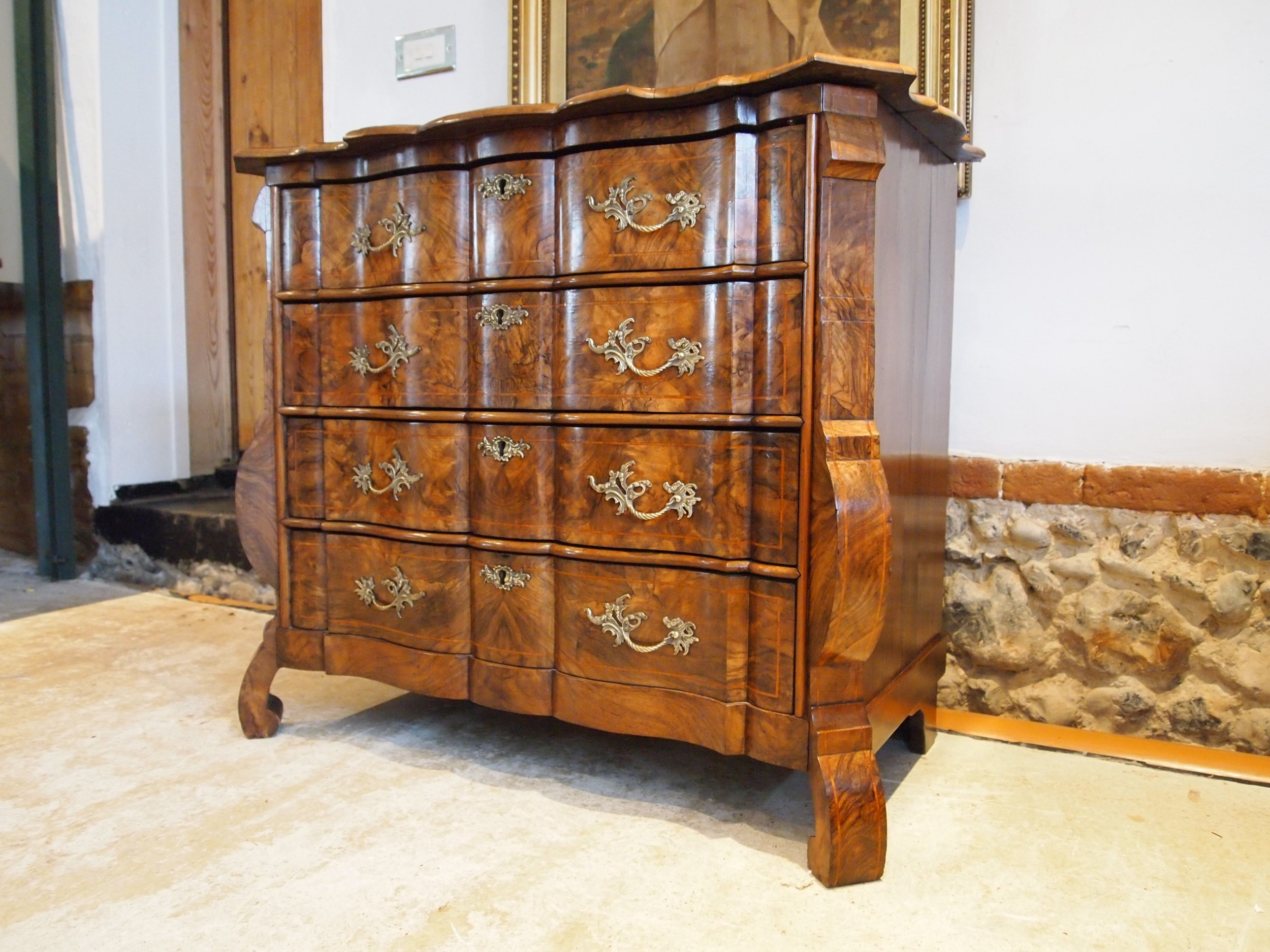 chest of drawers outstanding small figured burr walnut french c1860