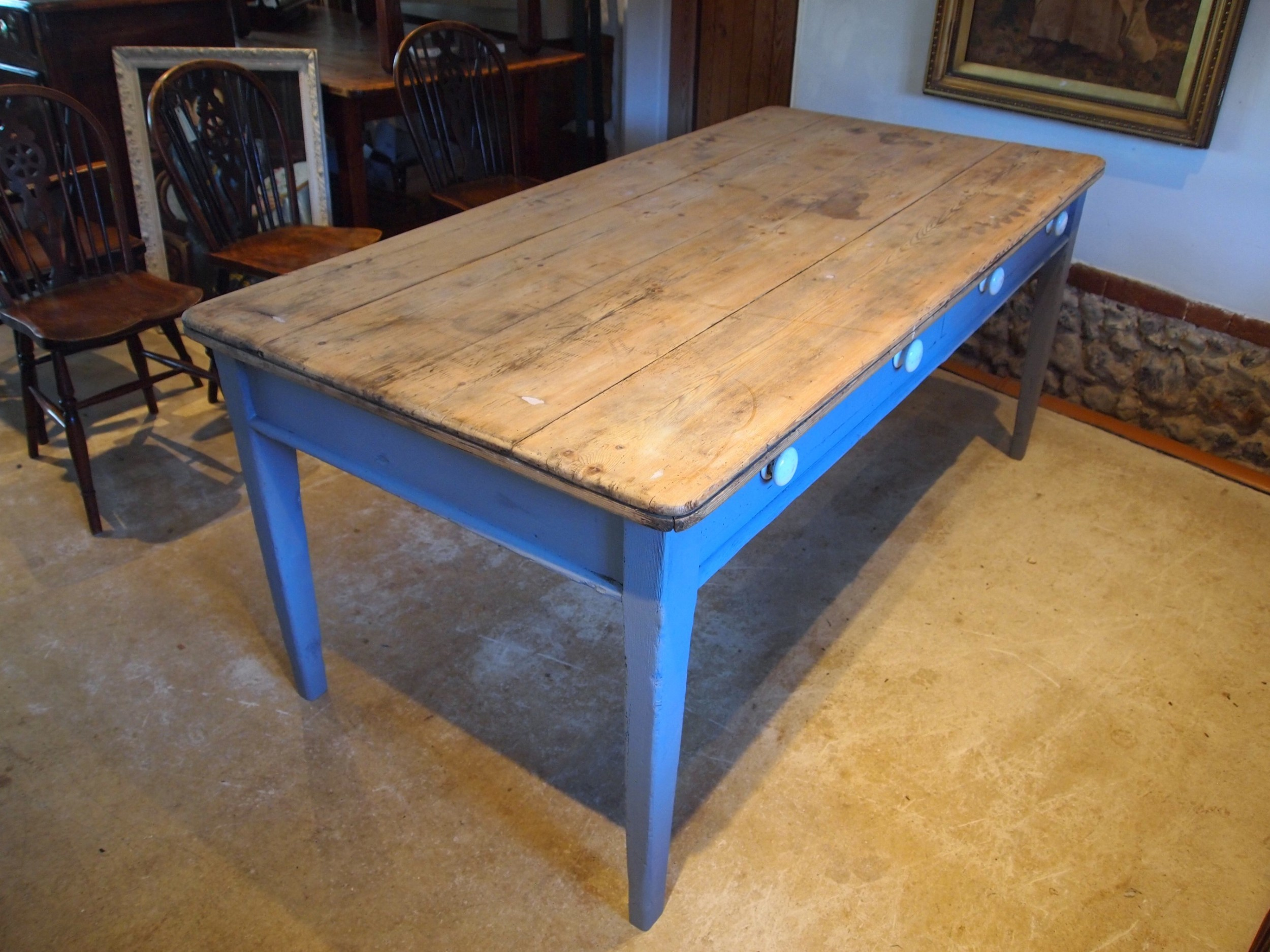 table early victorian pine scrub top refectory dining farmhouse c1840