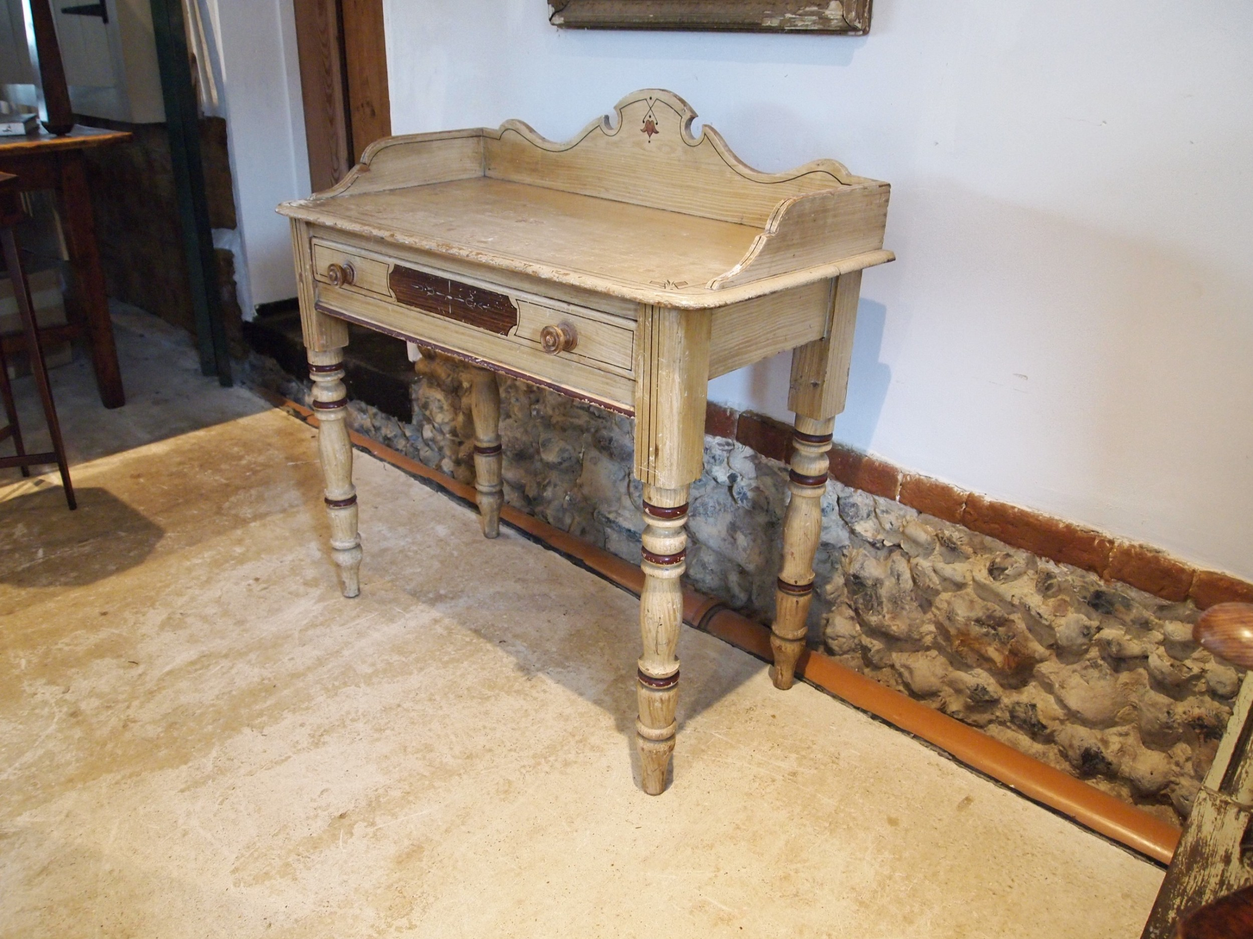 table rare victorian side hall lamp console original paint c1850