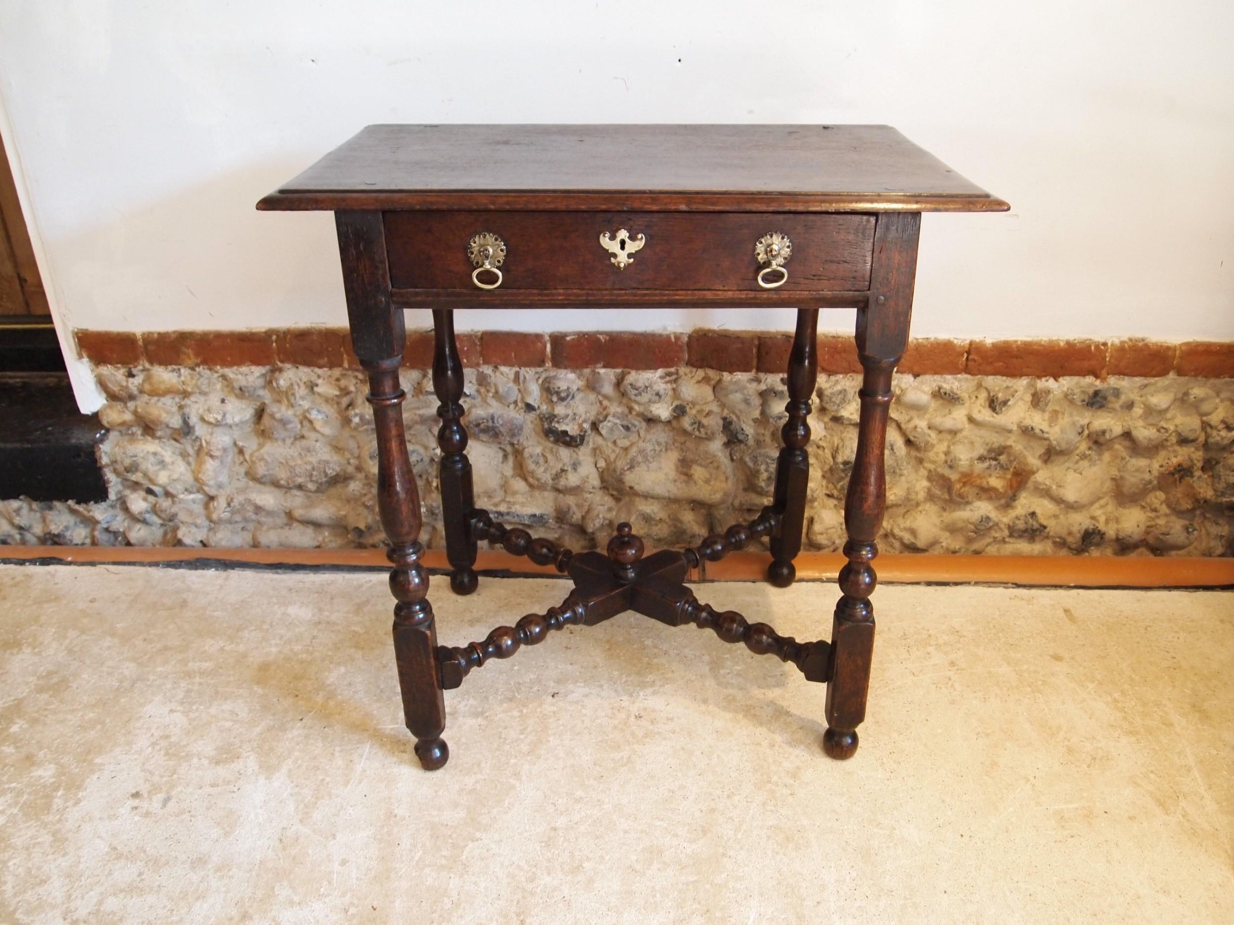 table rare queen anne oak side hall console lowboy c1700