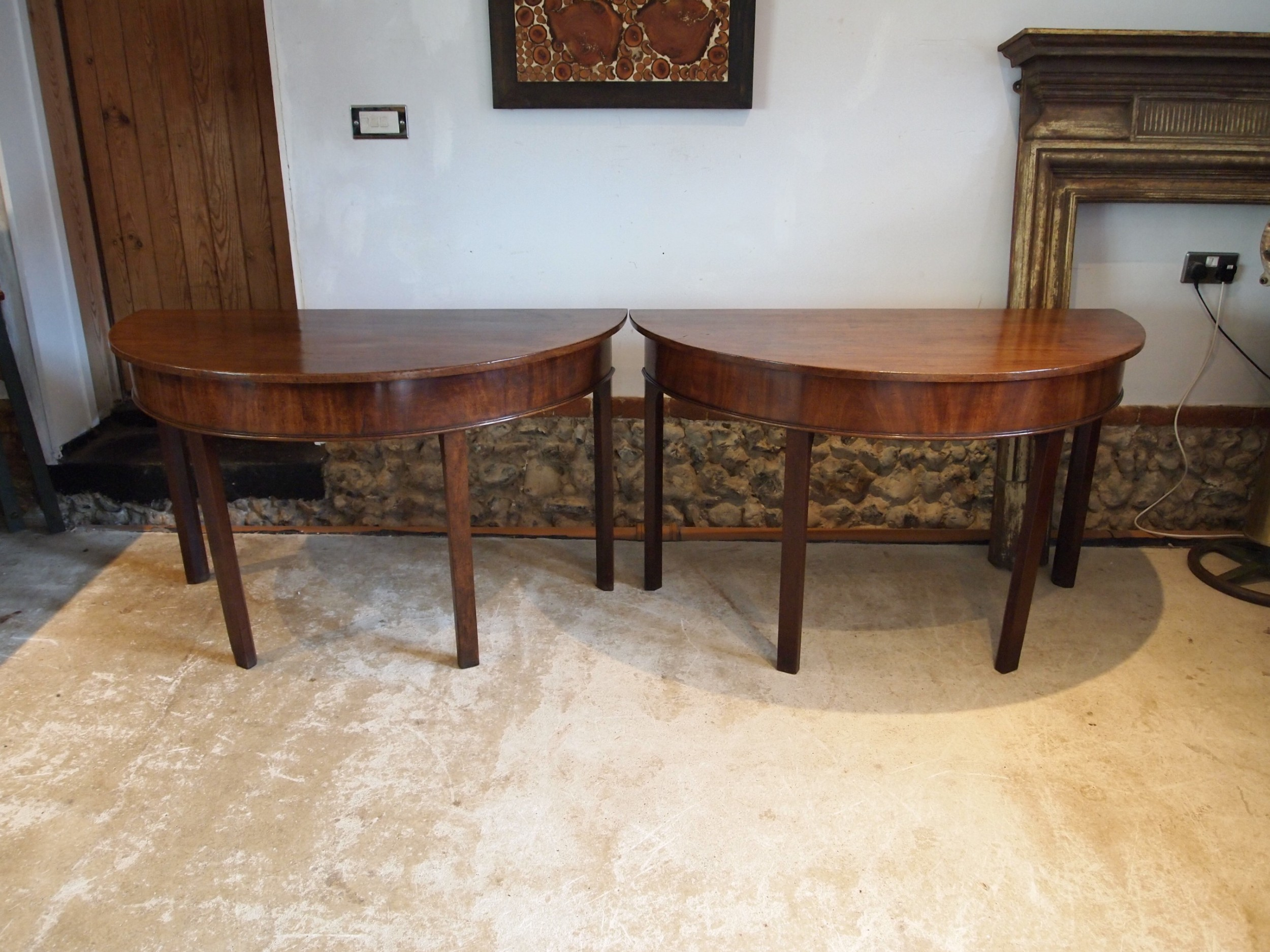 tables rare pair of george iii d end console hall side card c1780