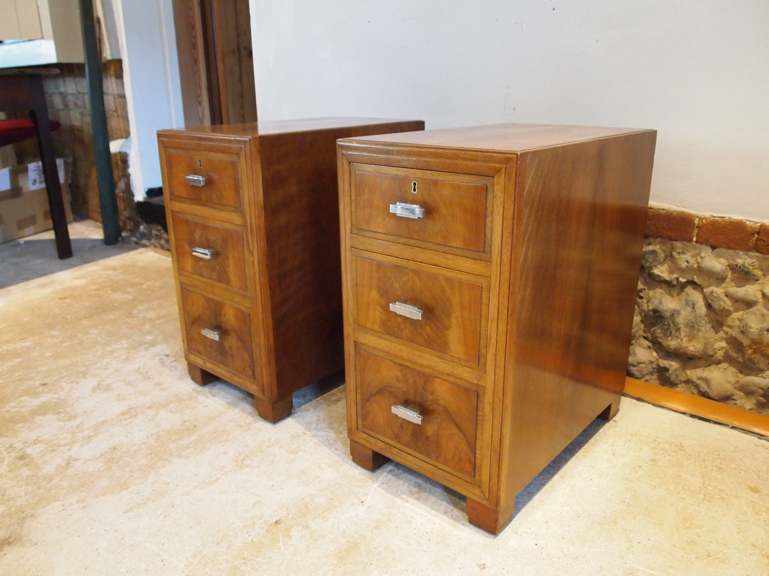 bedside chests cabinets heals of london walnut art deco c1930