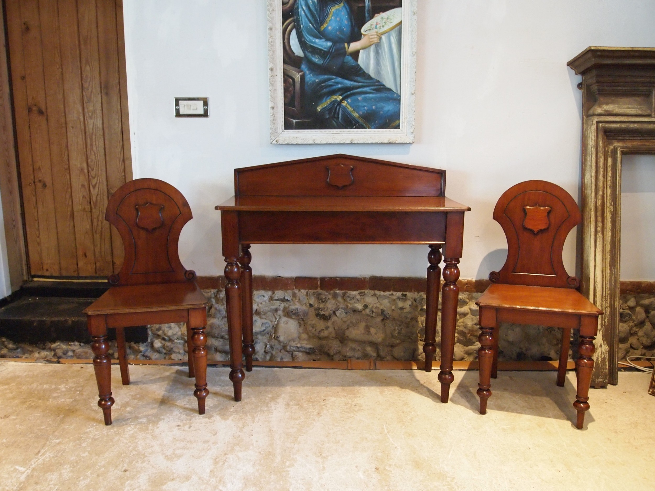 hall table and chairs very rare matching walnut victorian c1880