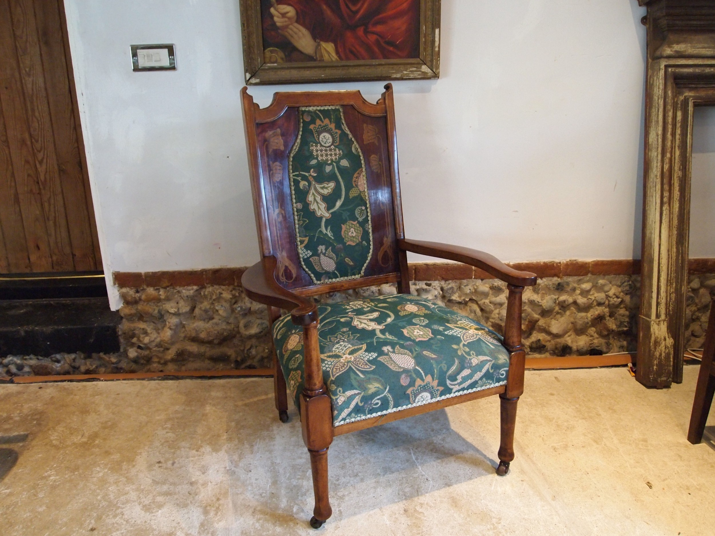 chair rare arts and crafts inlaid armchair c1880