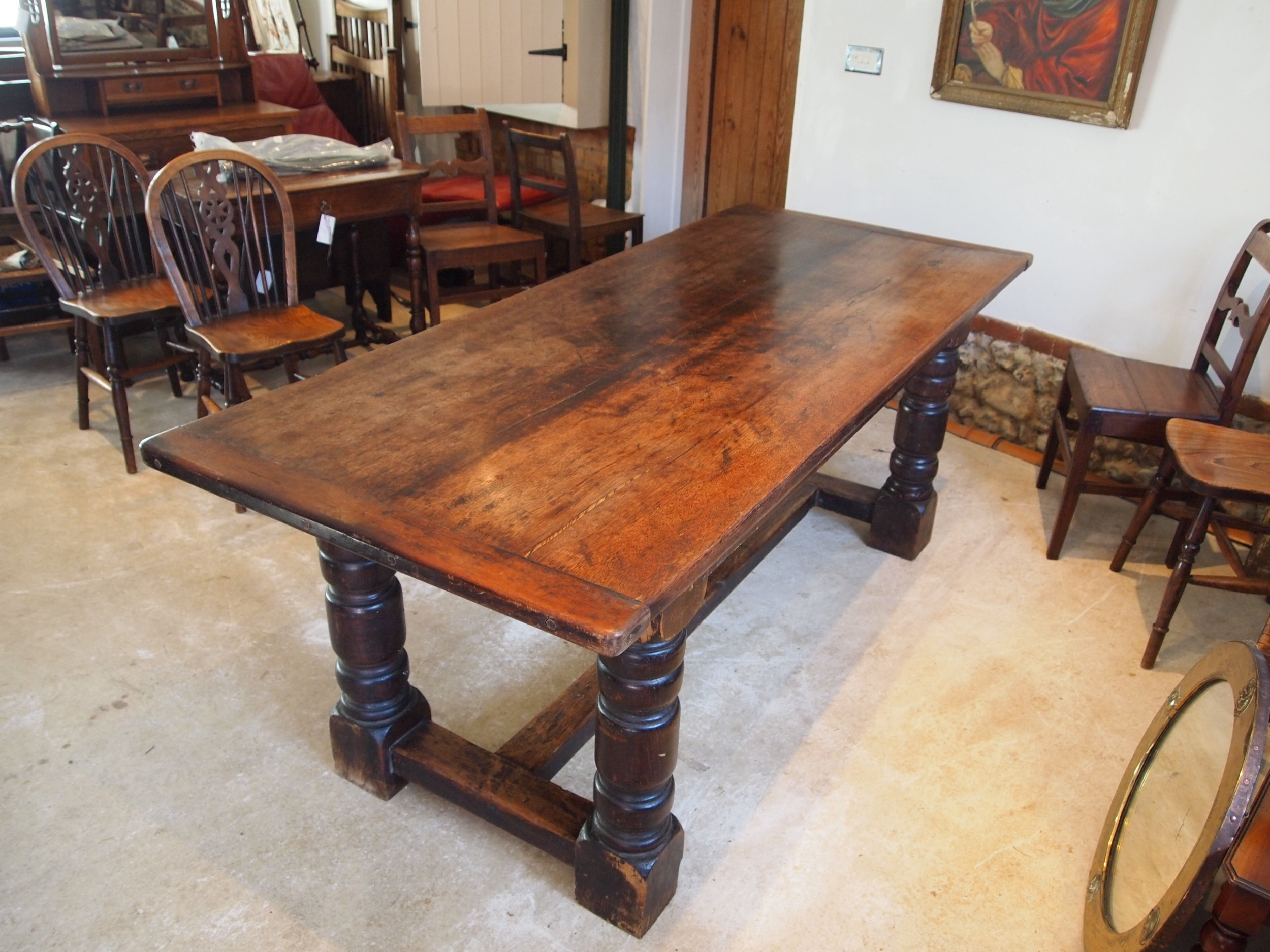 table refectory dining 17th century style oak and walnut c1900