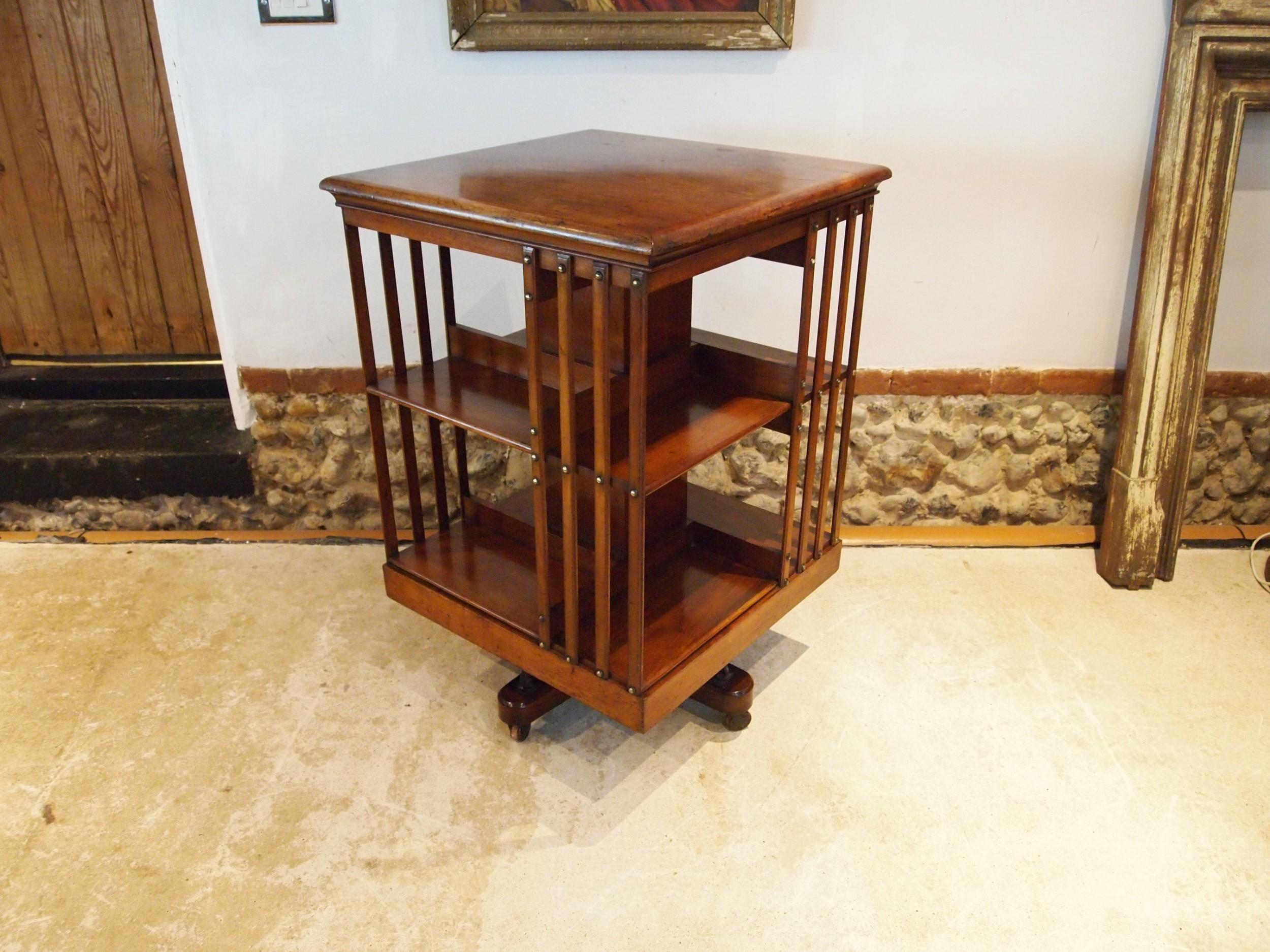 bookcase rare fine walnut maple co revolving c1880