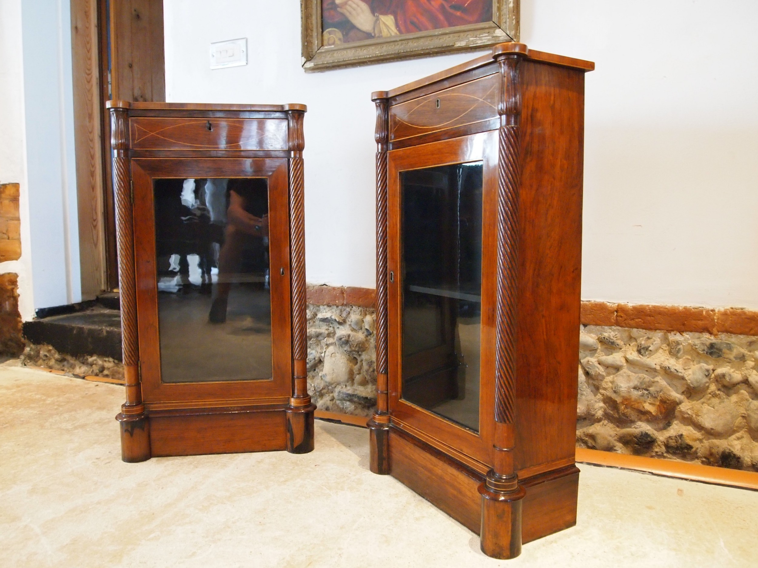 wow outstanding pair of edwardian rosewood pier cabinets c1900