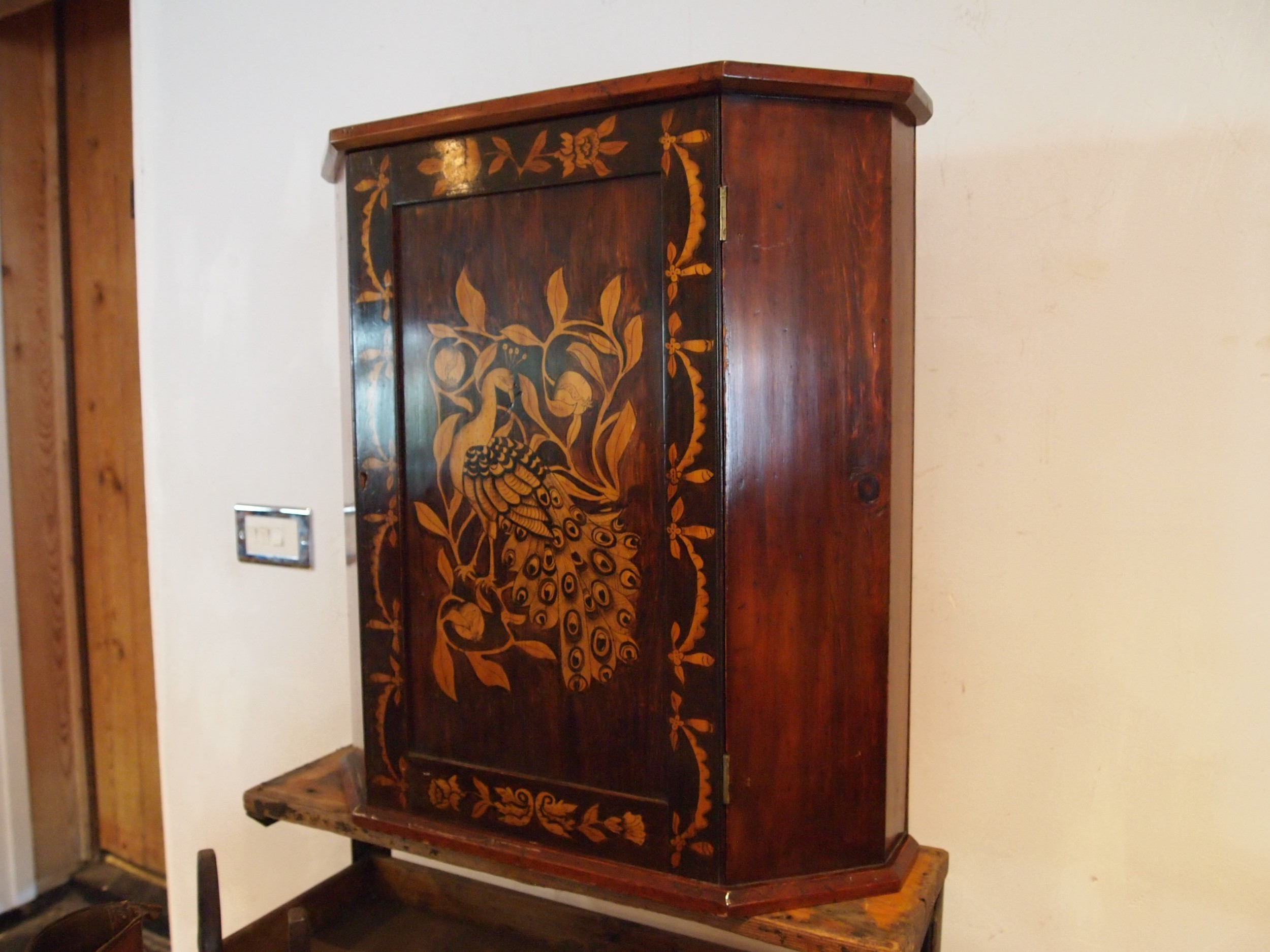 cupboard cabinet arts and crafts penwork fruitwood c1900