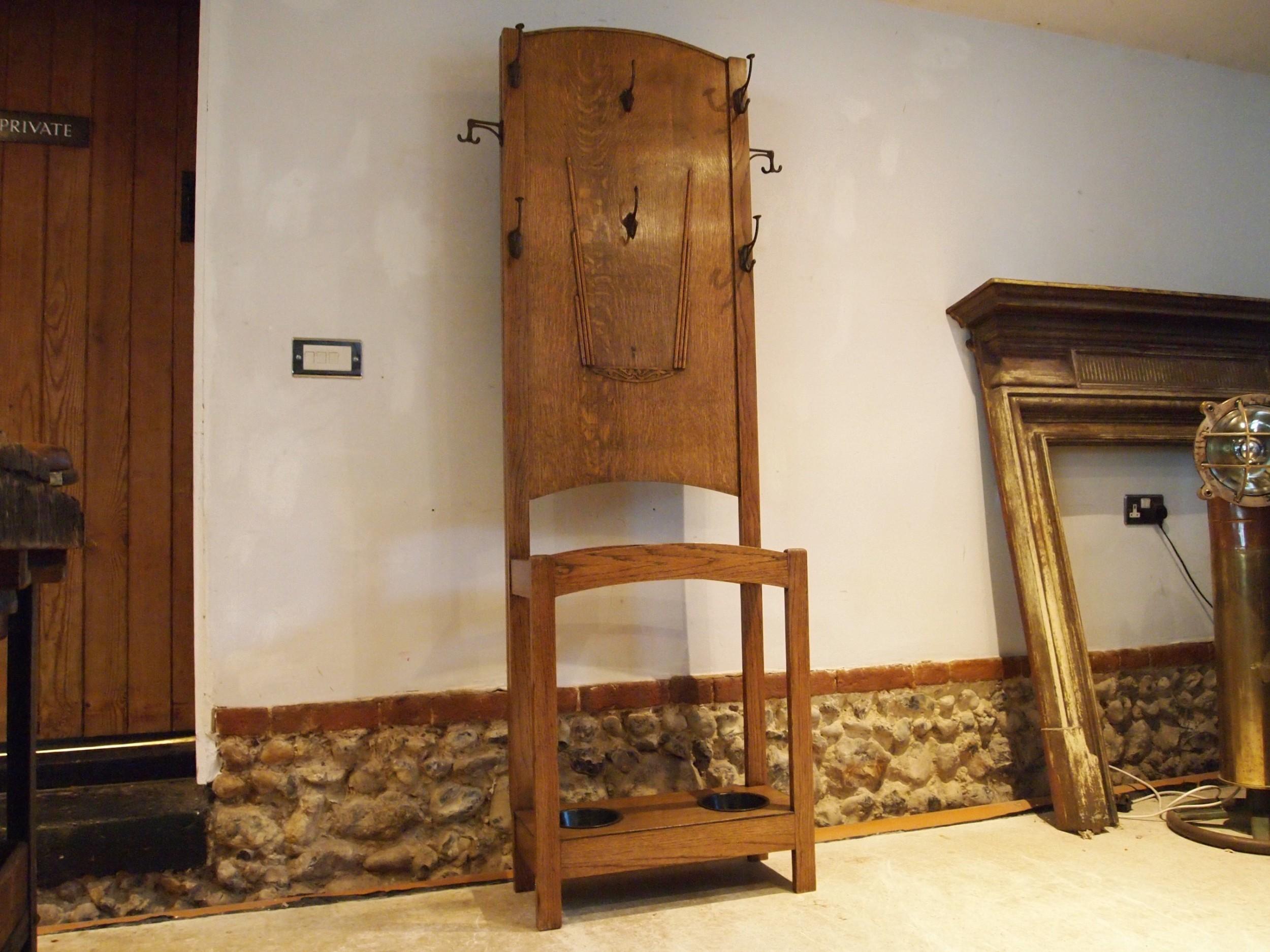 hallstand rare art deco oak coat hat stand c1920
