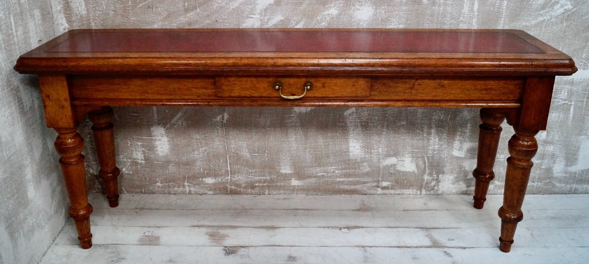 victorian oak leather top library table