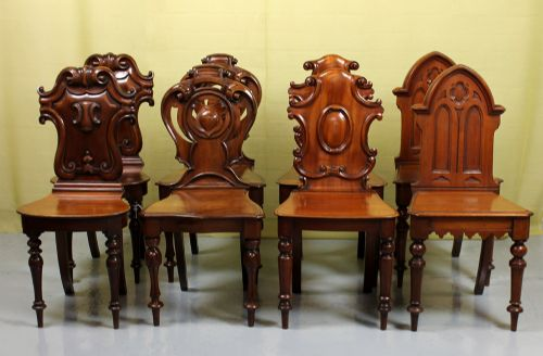 pair of 19thc english hall chairs. antique photo - Pair Of 19th.c. - Antique Hall Chair Antique Furniture