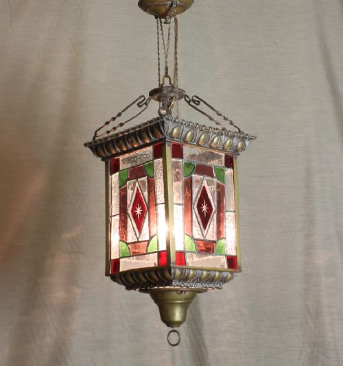 Victorian Coloured Glass Porch Light 215381