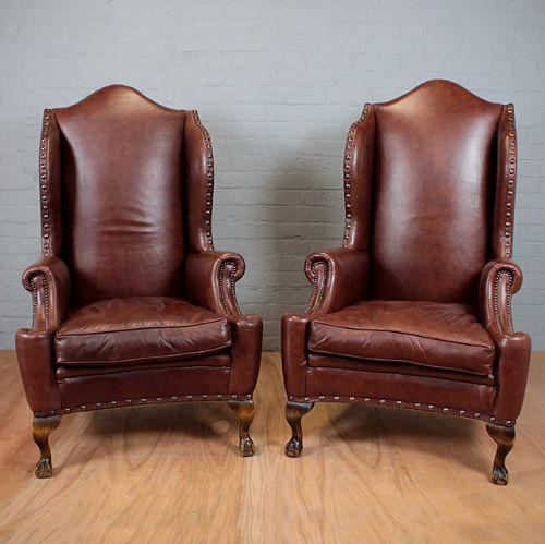 Good Pair High Back Leather Armchairs