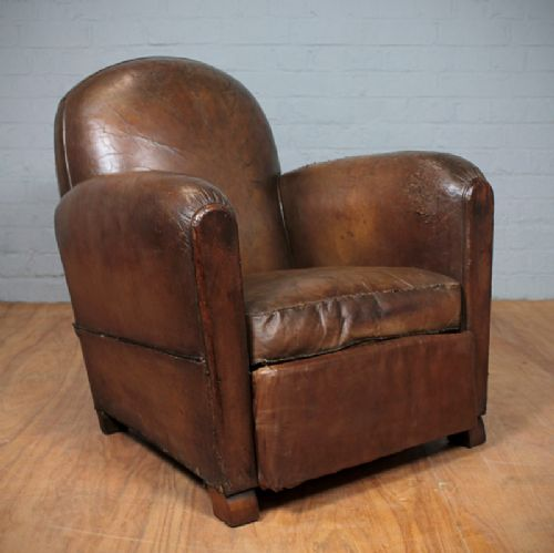 Vintage French Leather Armchair 241956 Sellingantiques Co Uk