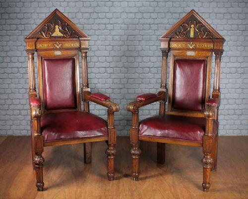 pair of masonic throne chairs c1894 - Pair Of Masonic Throne Chairs C.1894. 272598 Sellingantiques.co.uk