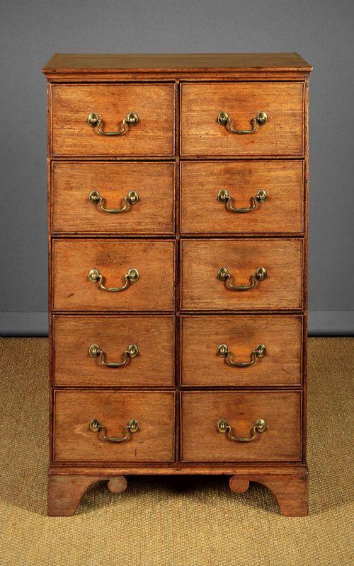 slim bank of 10 drawers c1820