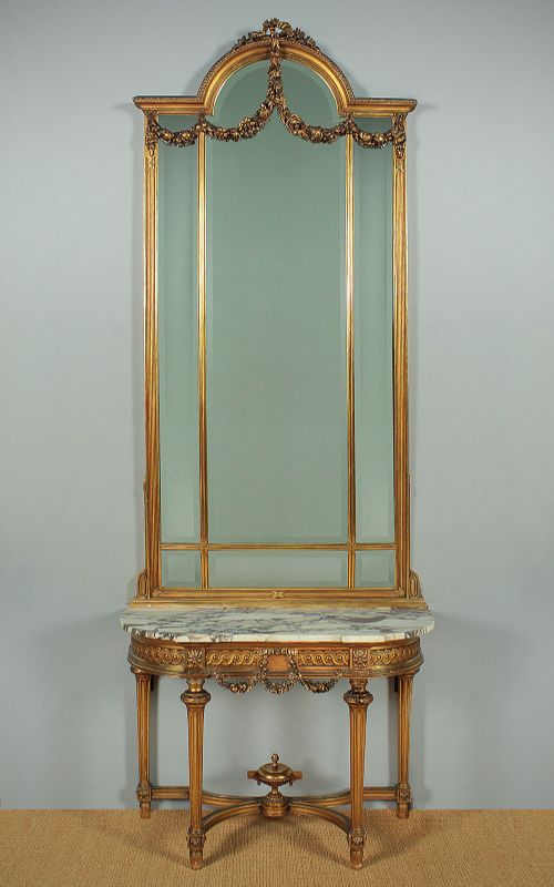 louis xvi style gilded console table mirror c1930