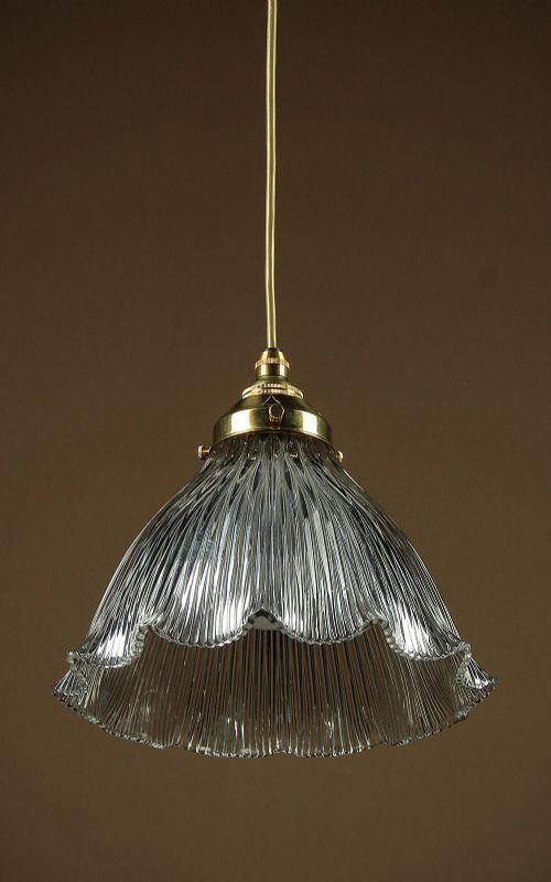 pendant light glass shade by holophane c1910