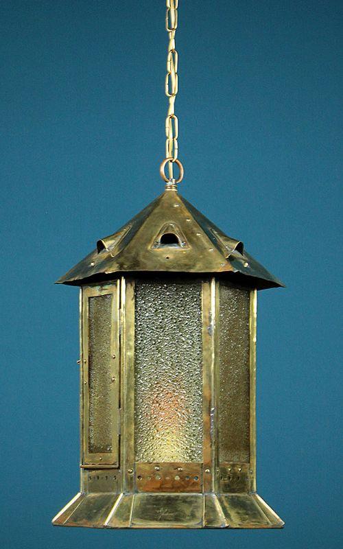 large brass arts crafts porch lantern c1910