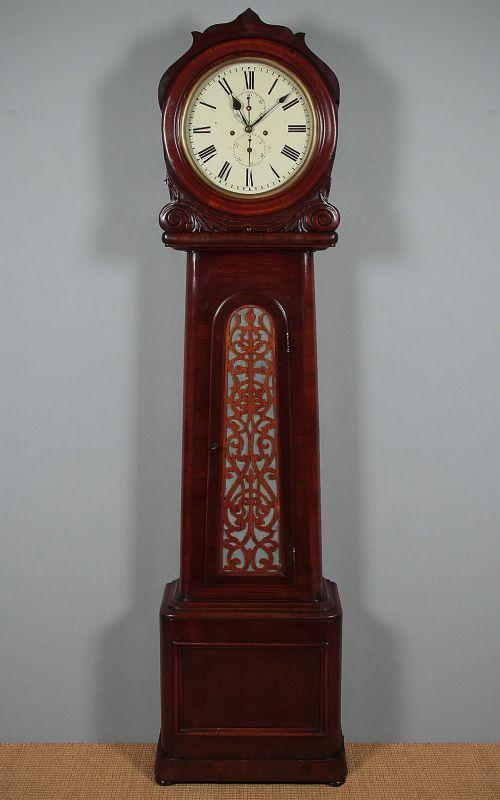 drumhead mahogany longcase clock c1840