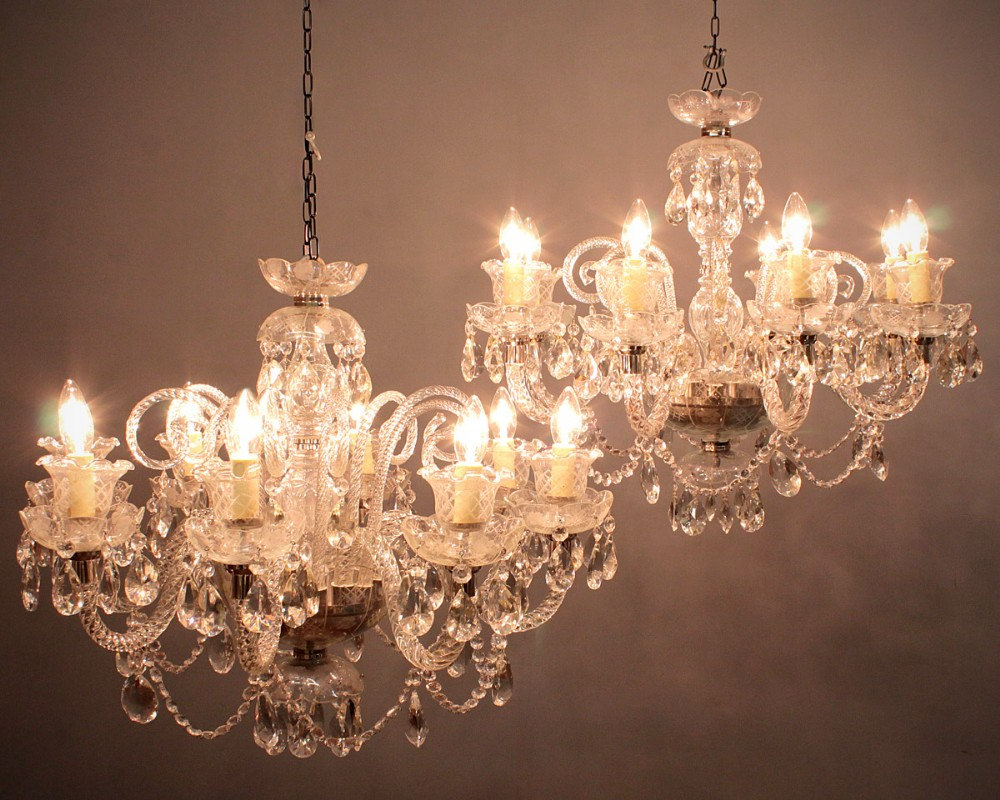 Pair Of Large Chandeliers C.1930. | 274131 | Sellingantiques.co.uk:pair of large chandeliers c1930,Lighting
