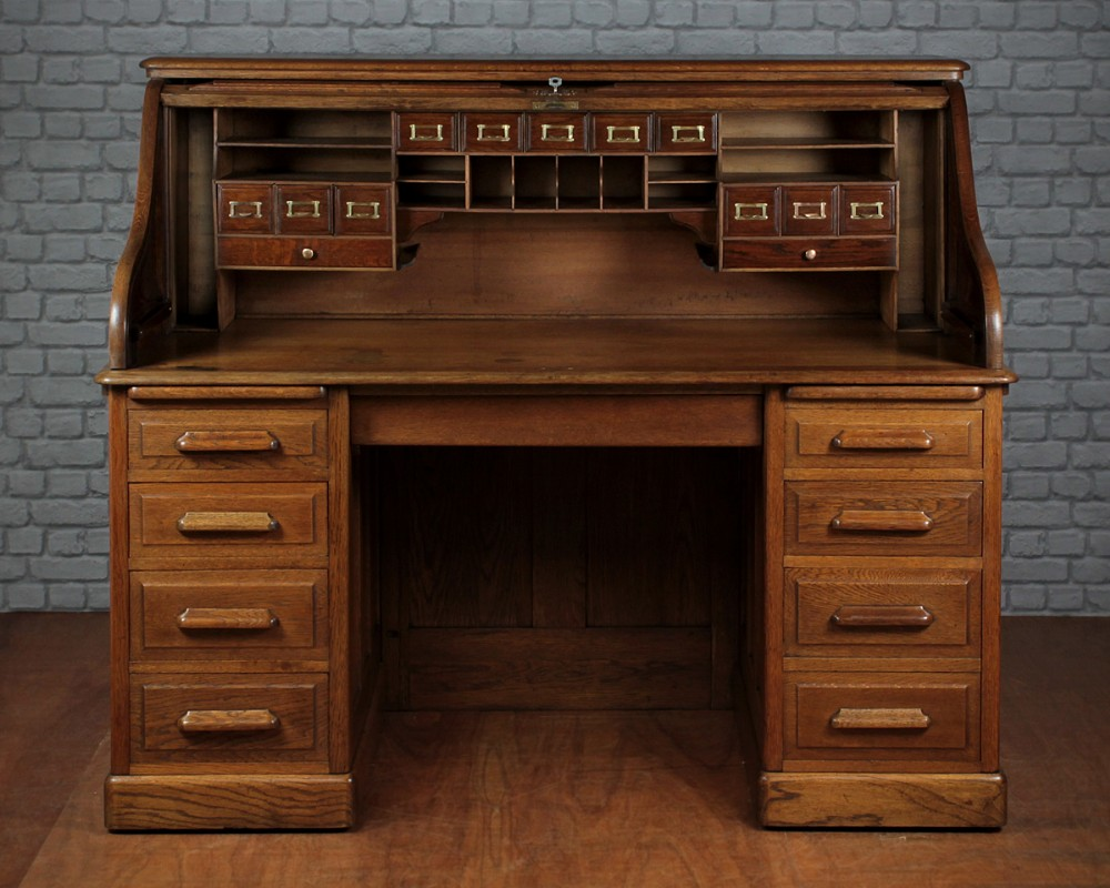 Edwardian Oak Roll Top Desk C 1905 300875